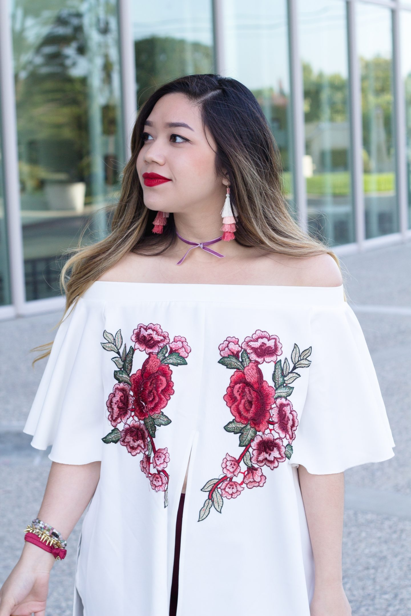 OTS Embroidered Floral Applique Split Front Top