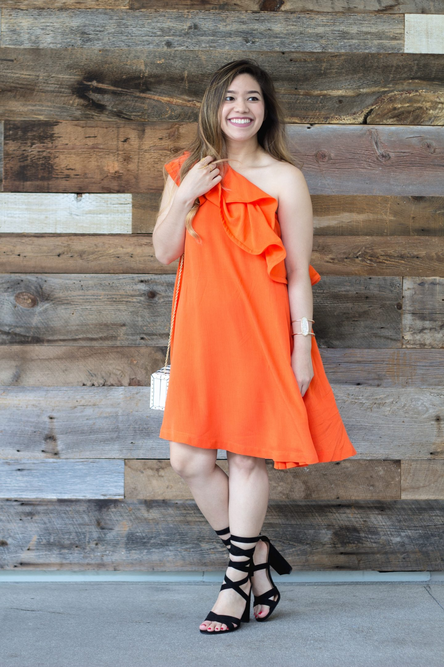 Orange One Shoulder Ruffle Dress