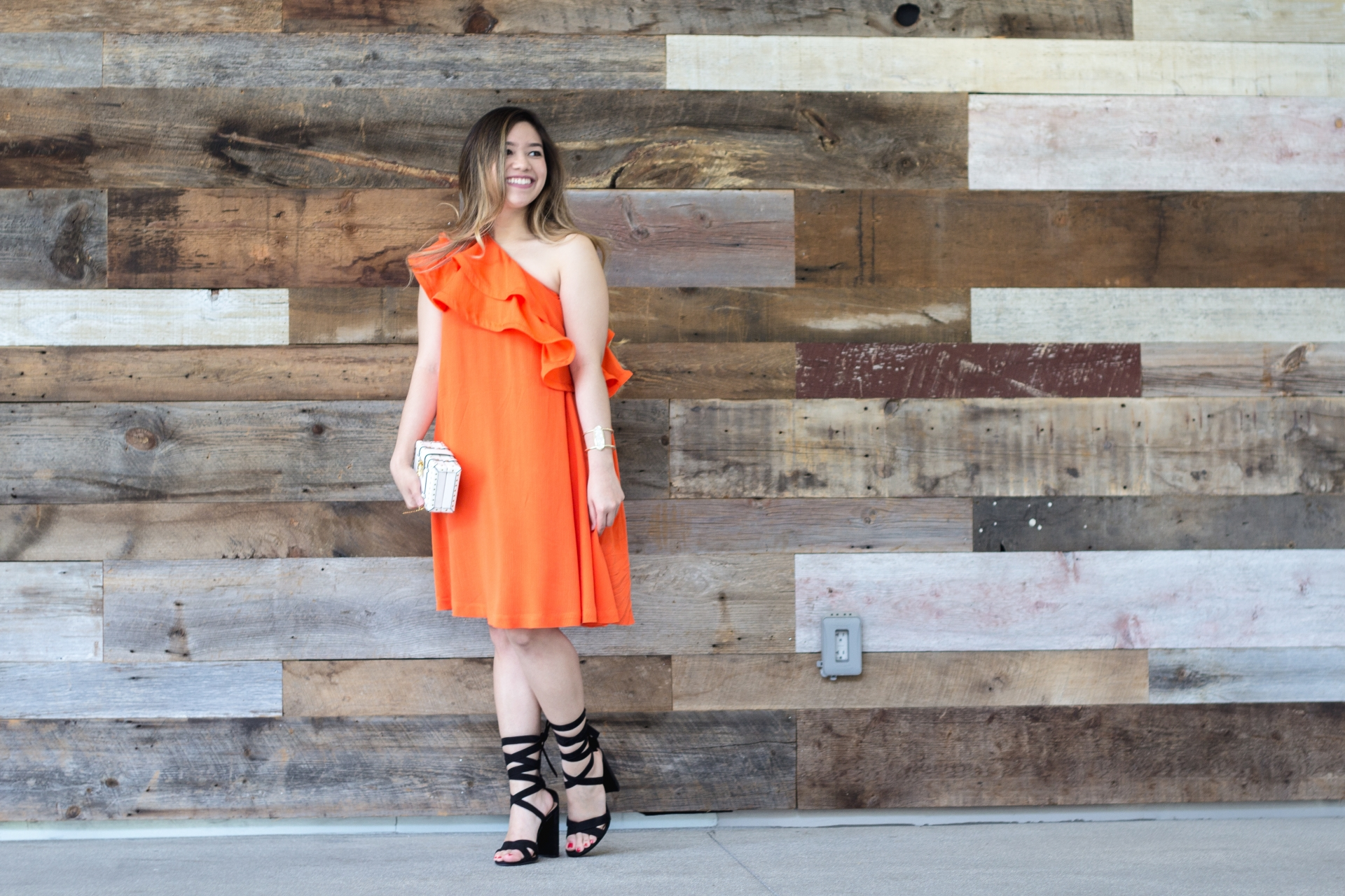Bright Orange Ruffle Dress