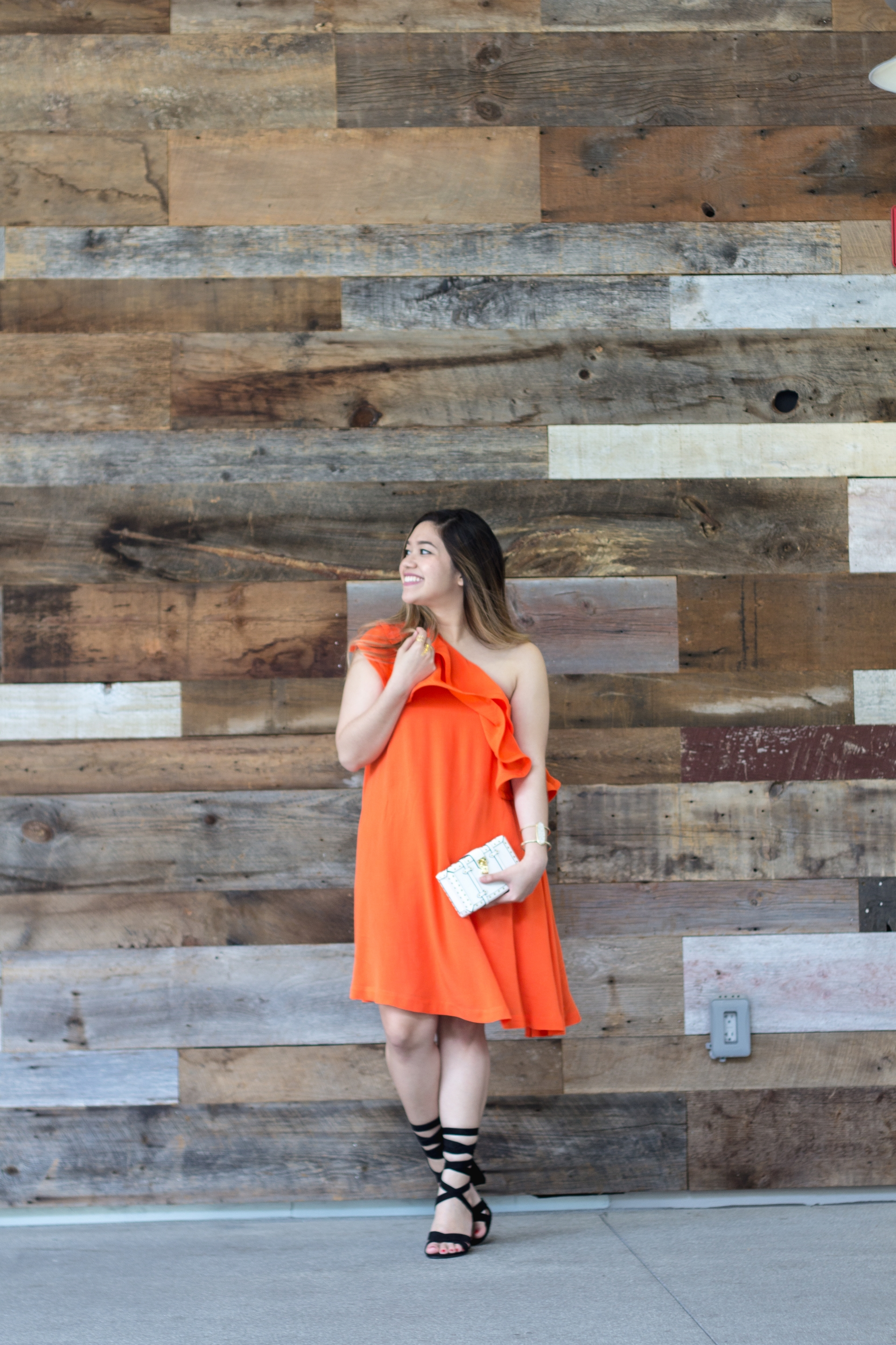 Bright Orange Ruffle Swing Dress
