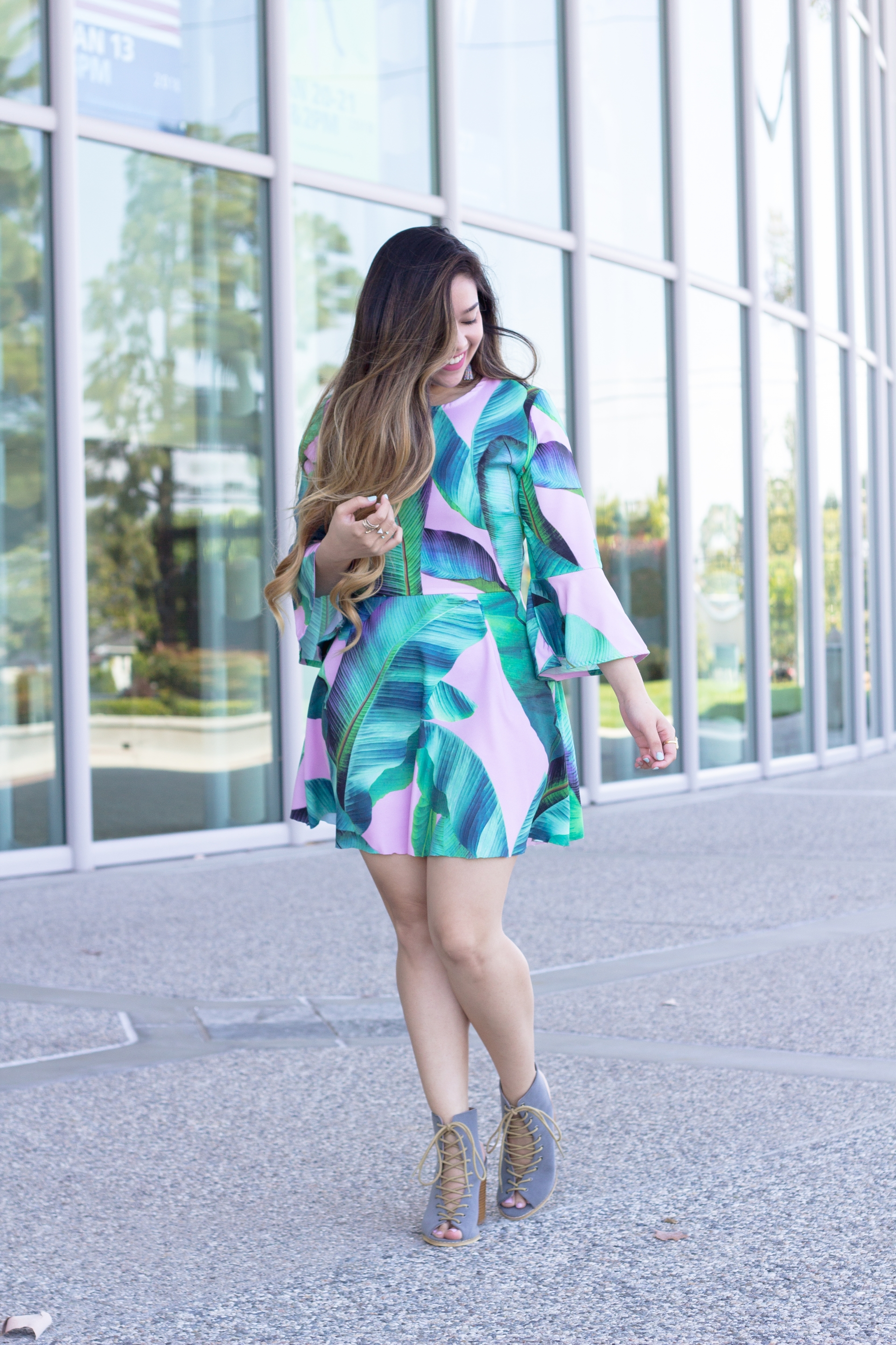 Feminine Palm Leaf Dress