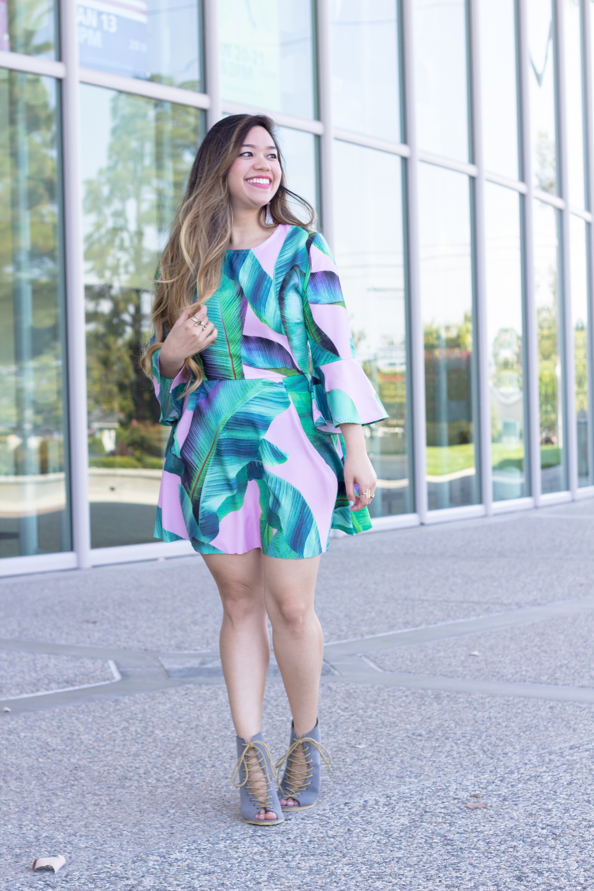 Palm Print Dress with Bell Sleeves