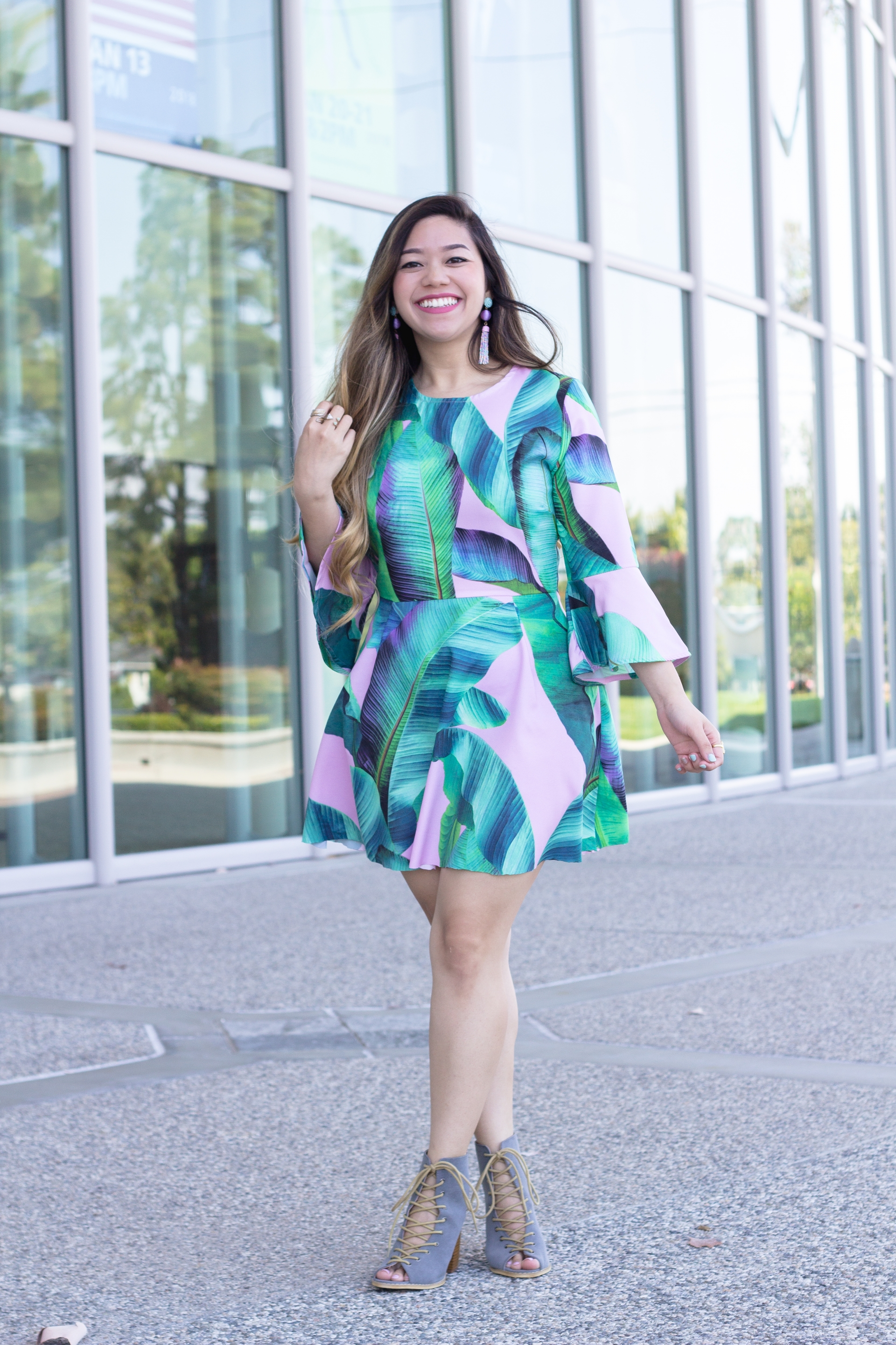 Palm Leaf Dress with Bell Sleeves