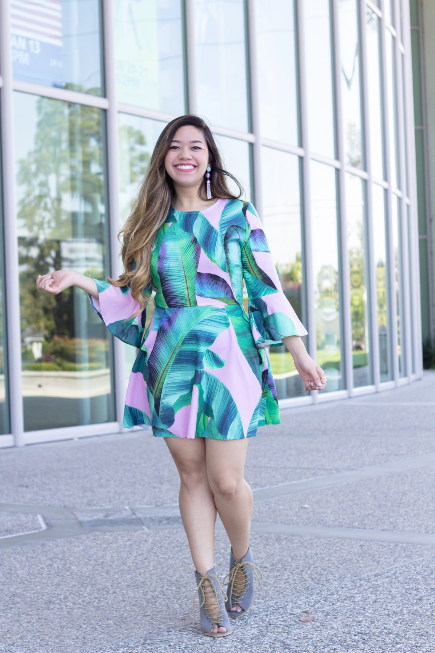 Bell Sleeve Palm Print Dress for $24