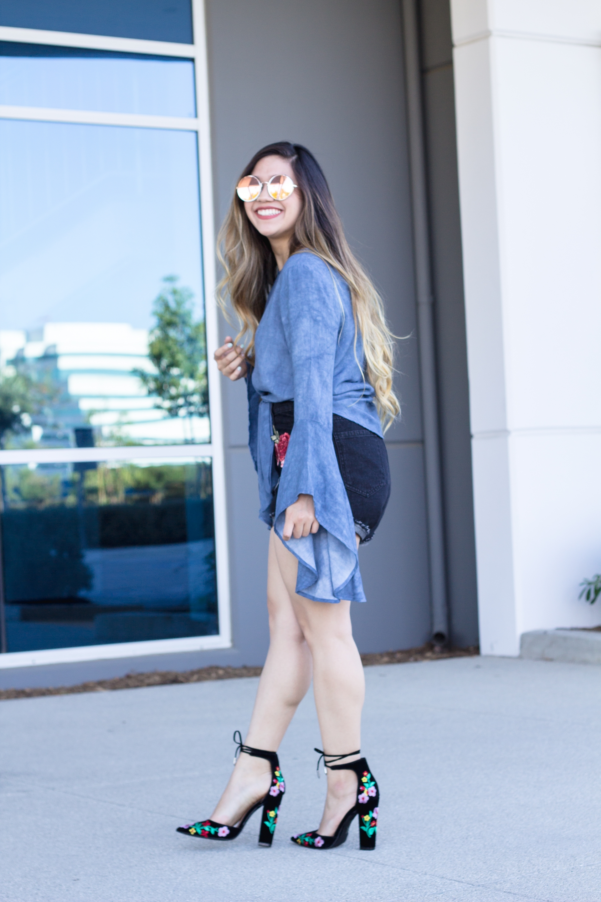 Denim Bell Sleeve Top