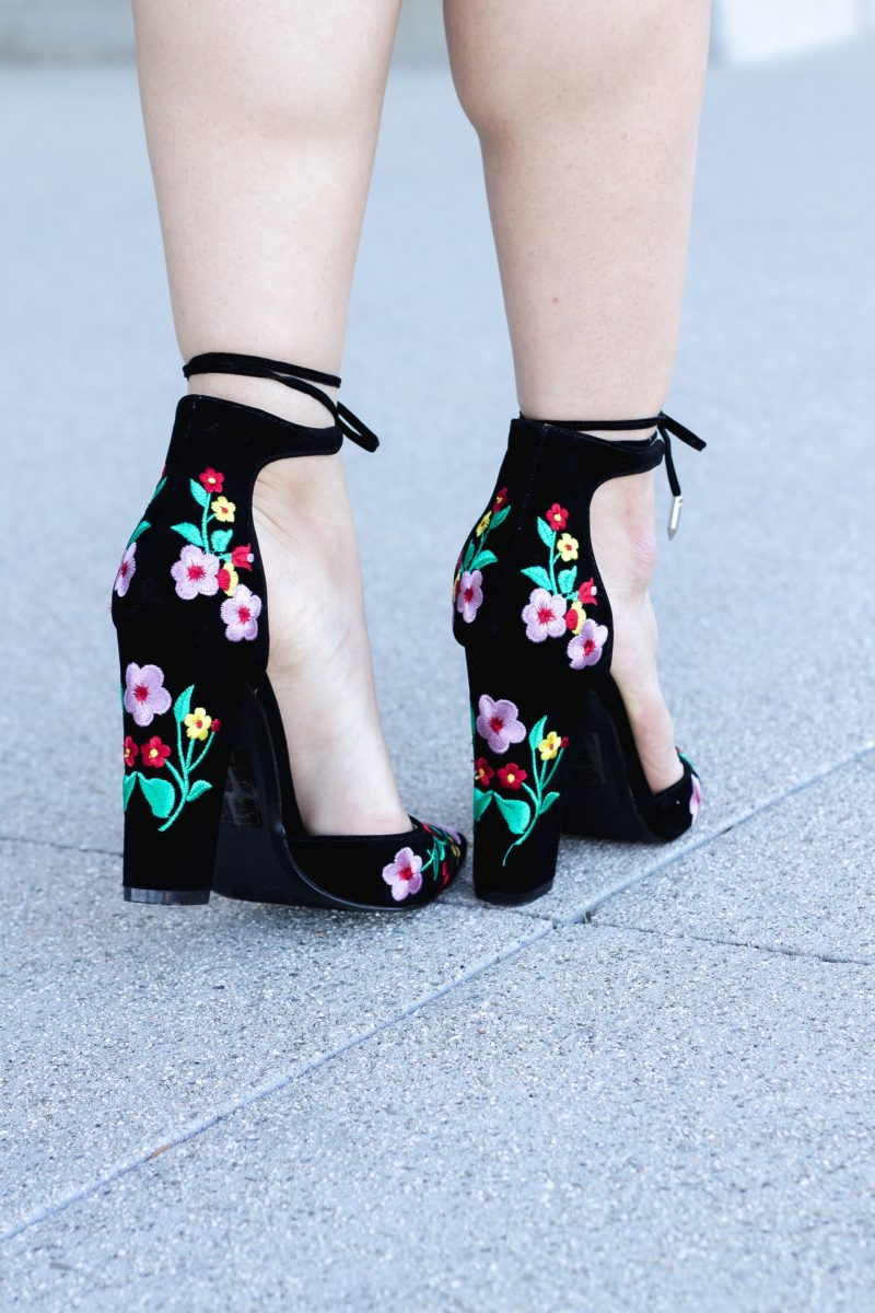 Floral Embroidery Block Heels