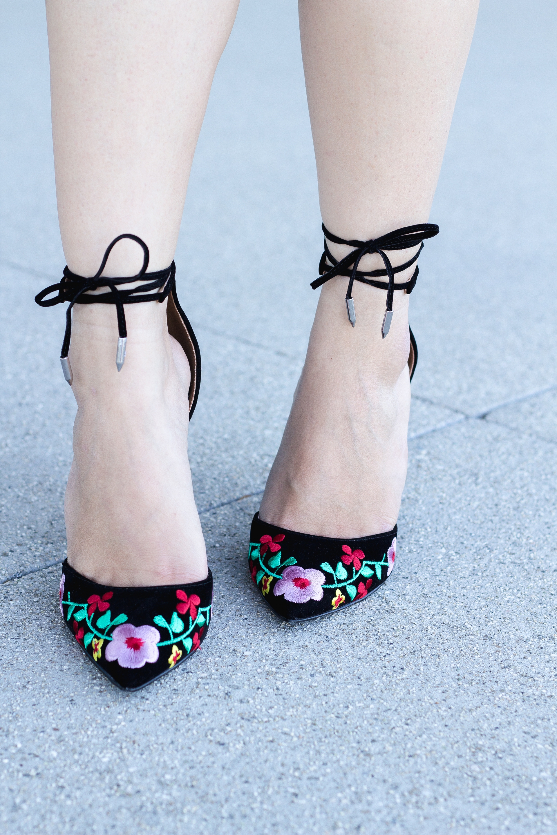 Floral Embroidered Block Heels Ankle Tie Heels