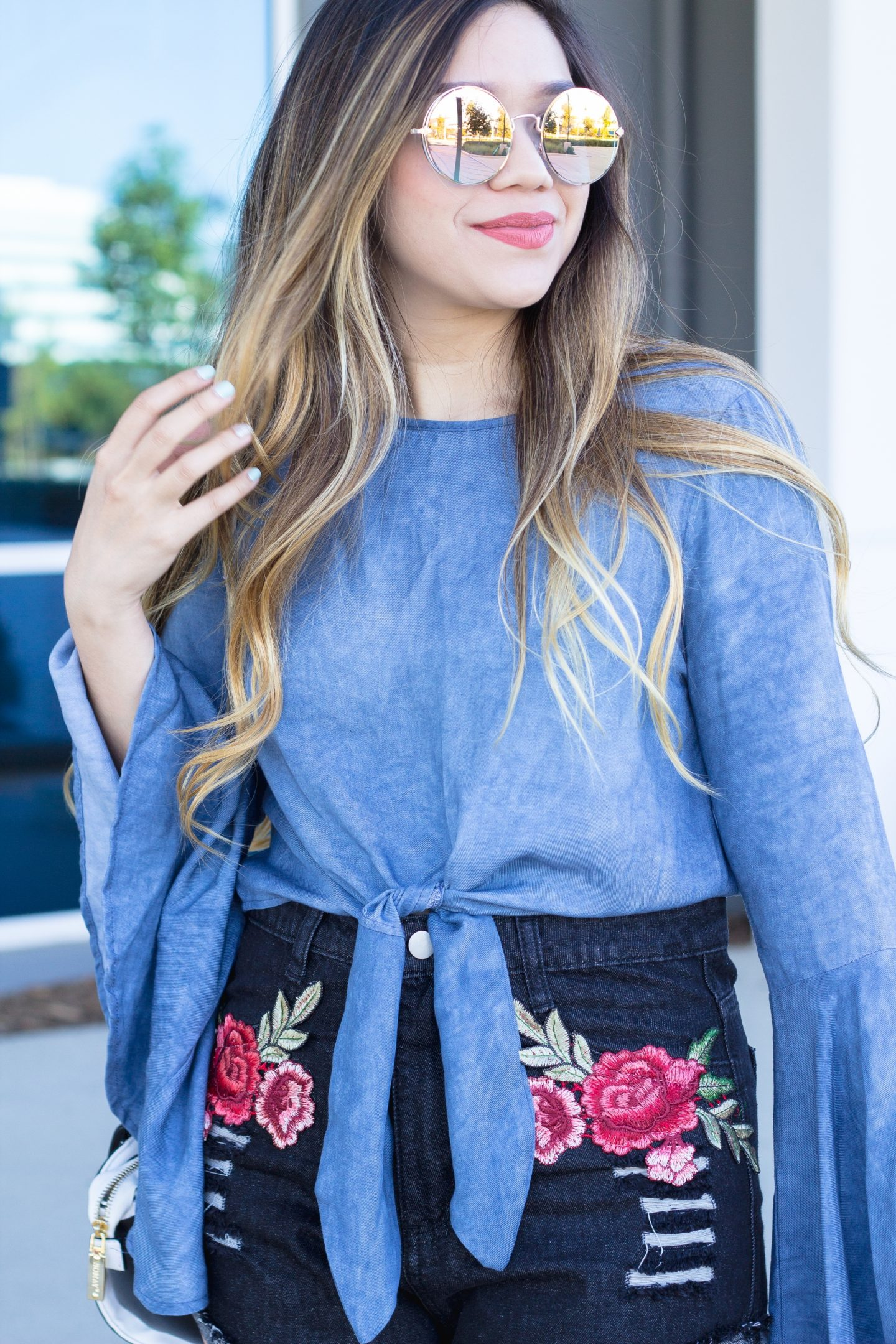 Denim Tie Front Top and Embroidered Denim Shorts