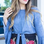 Denim Tie Front Top