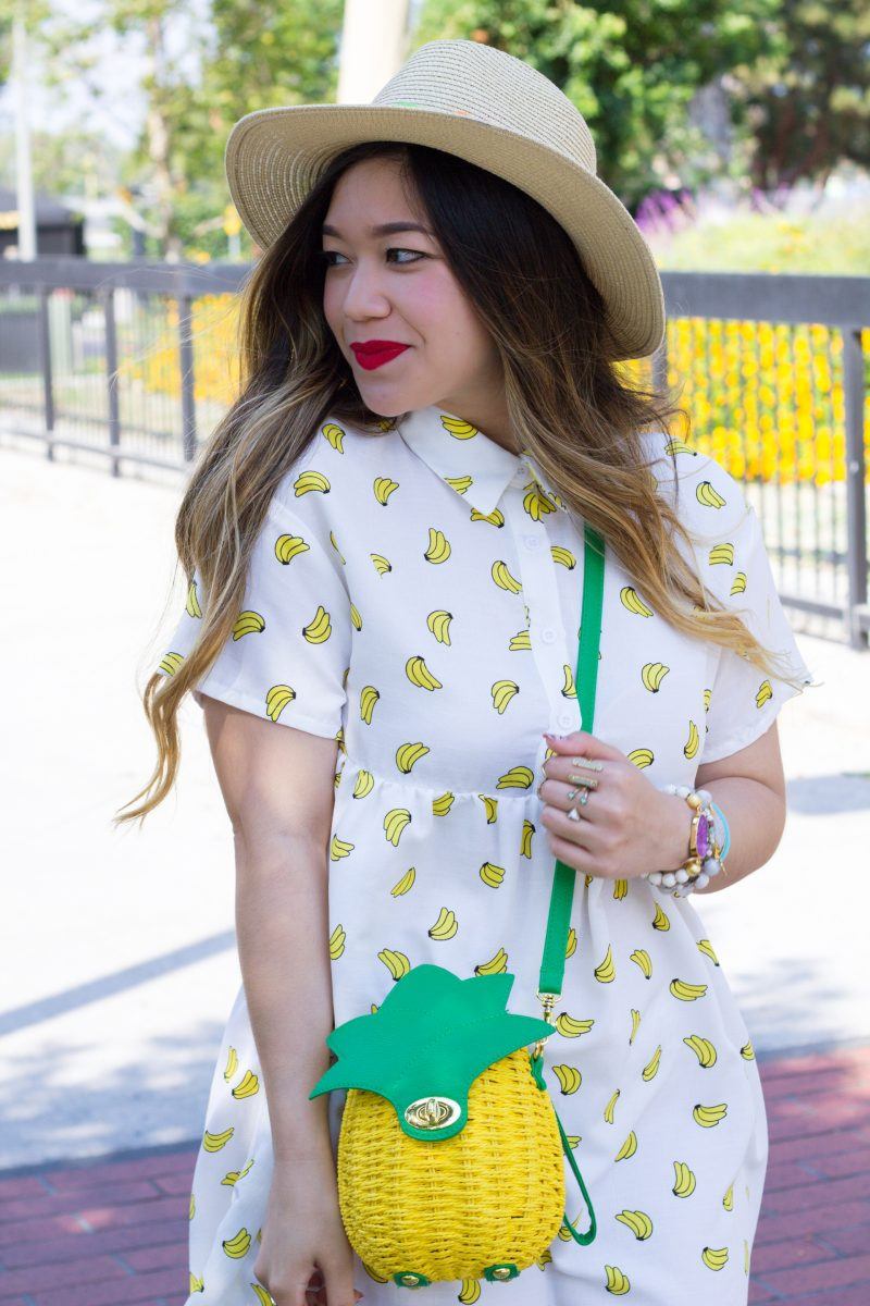 Banana-Print-Dress-Pineapple-Shaped-Bag
