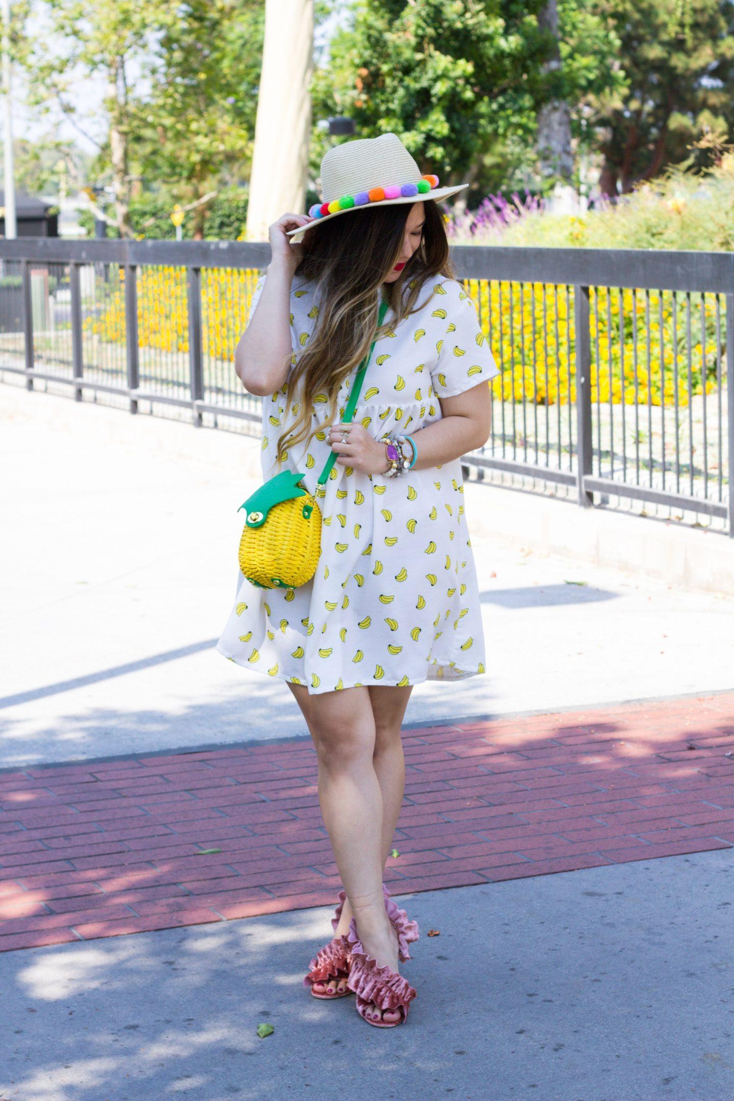 Fruit Fashion Trend: Banana Print Dress + Pineapple Bag