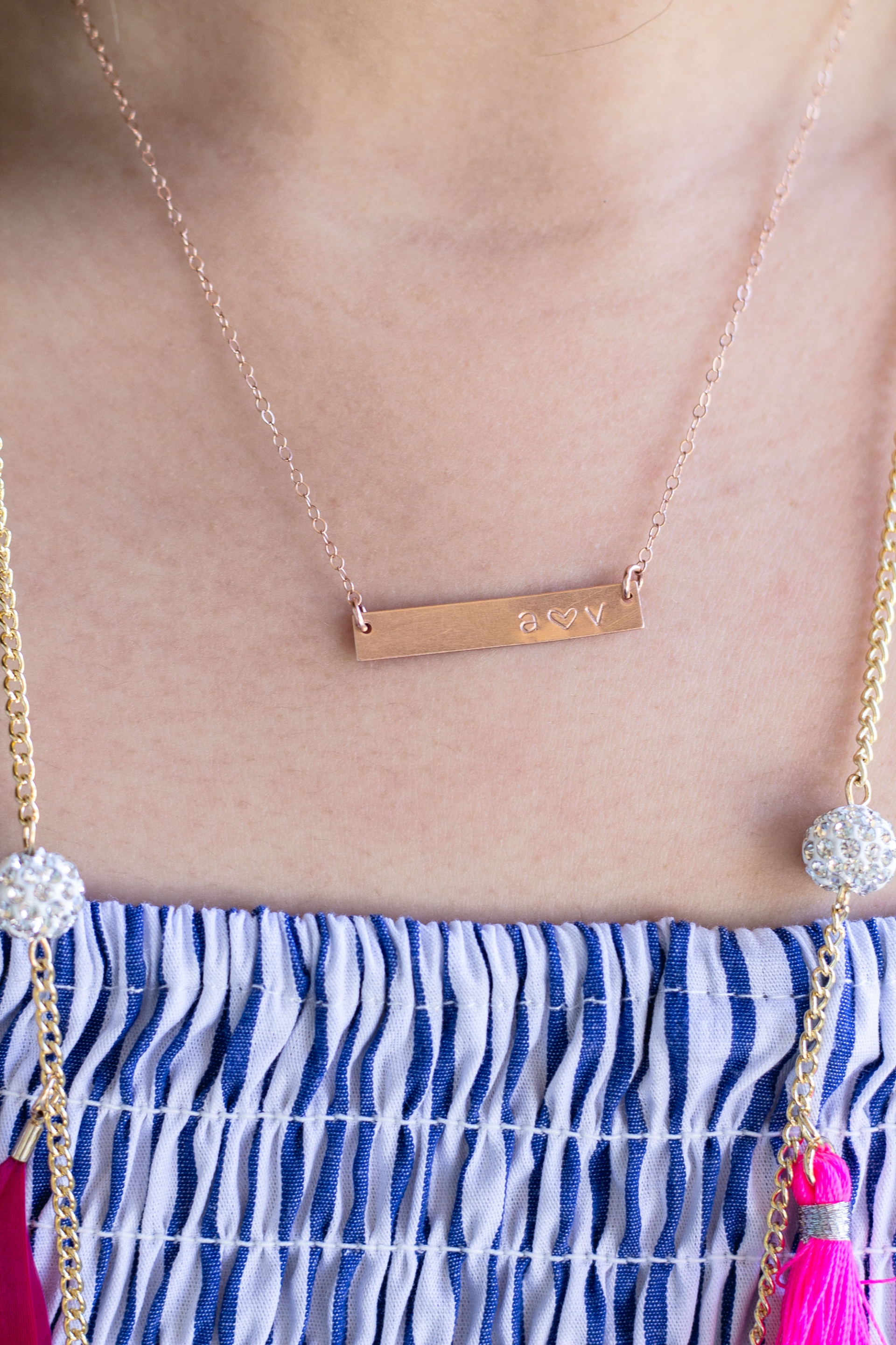 Hand Stamped Rose Gold Bar Necklace