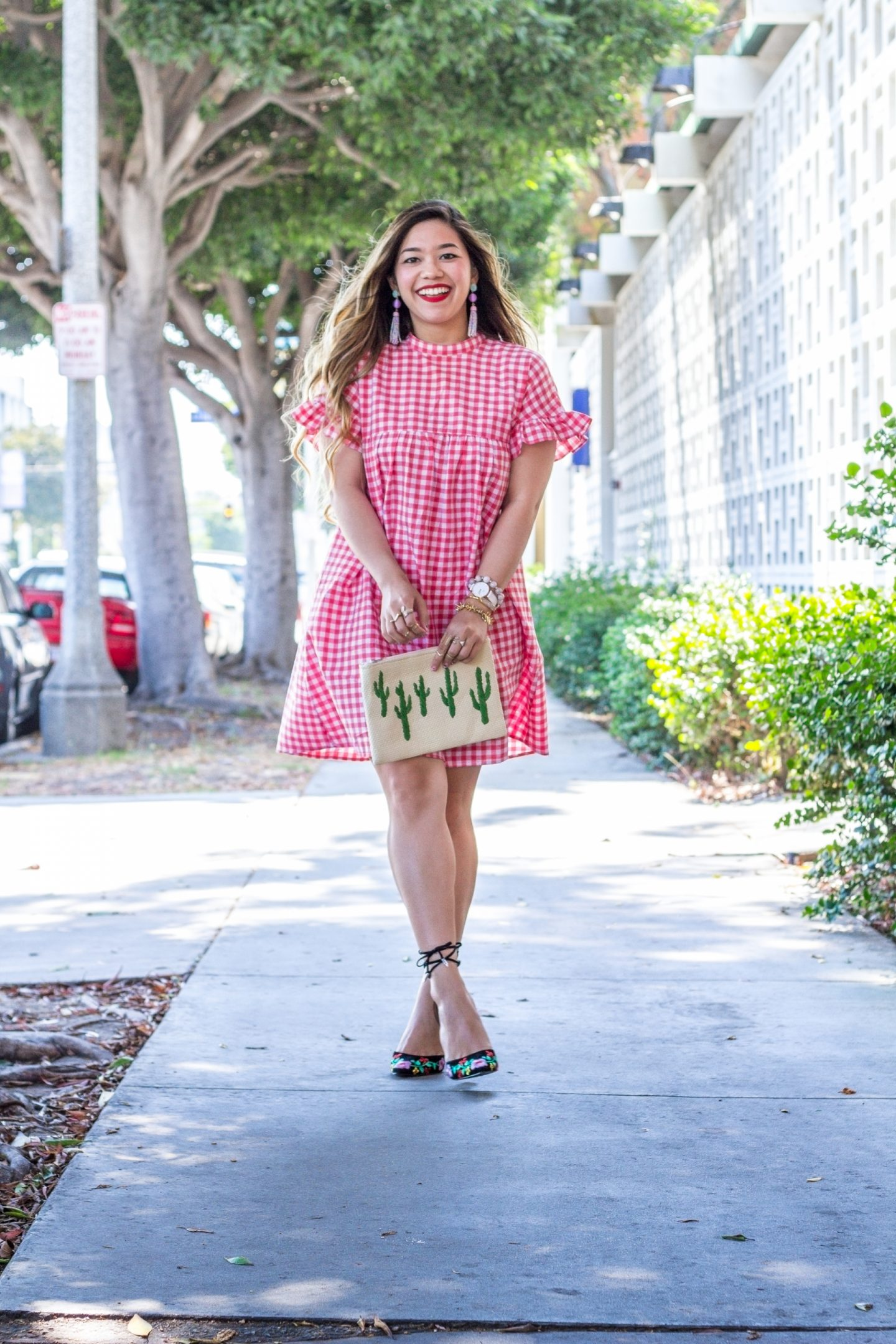 Red Gingham Ruffle Sleeve Dress