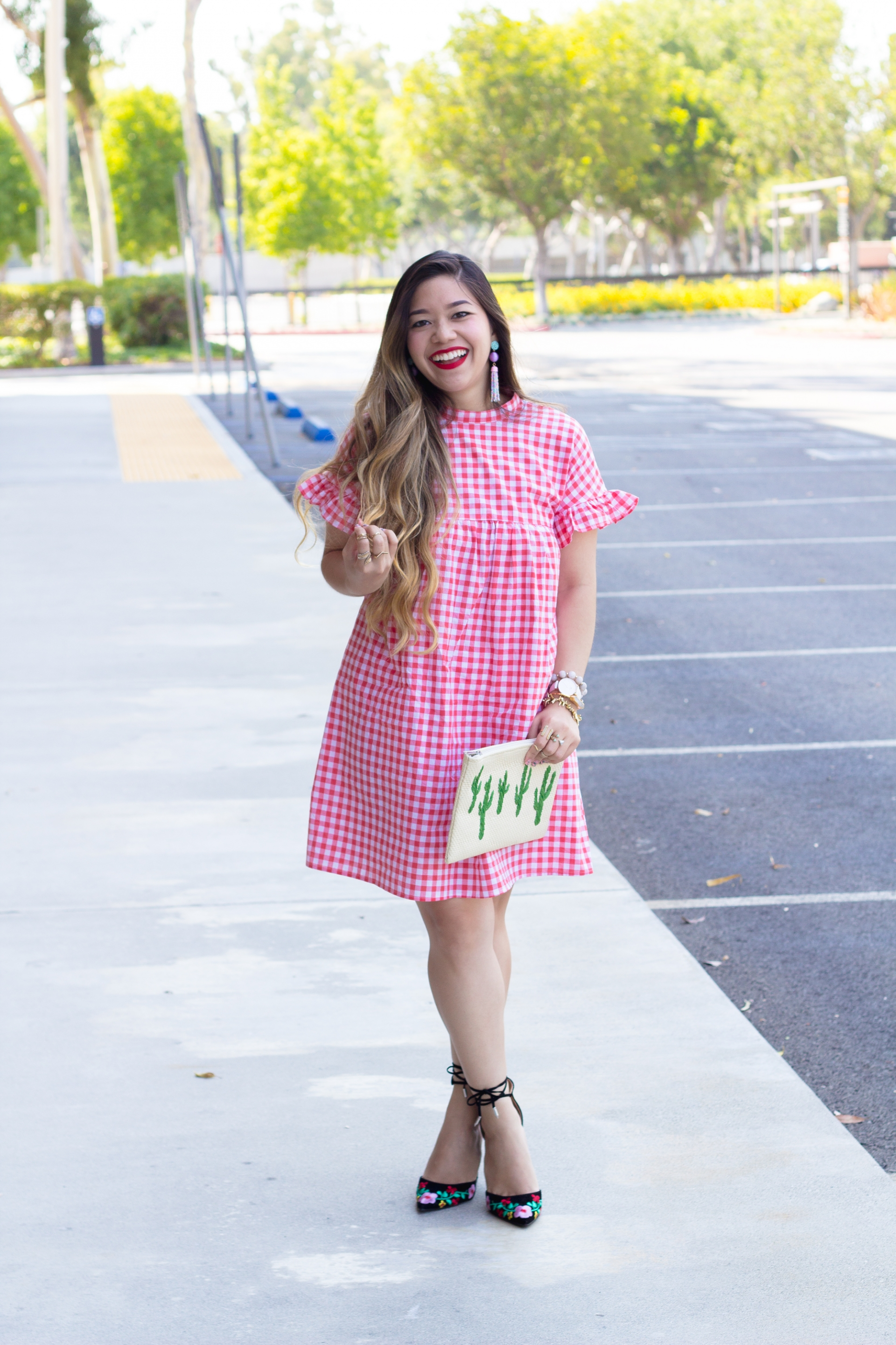 lightweight-red-gingham-shift-dress