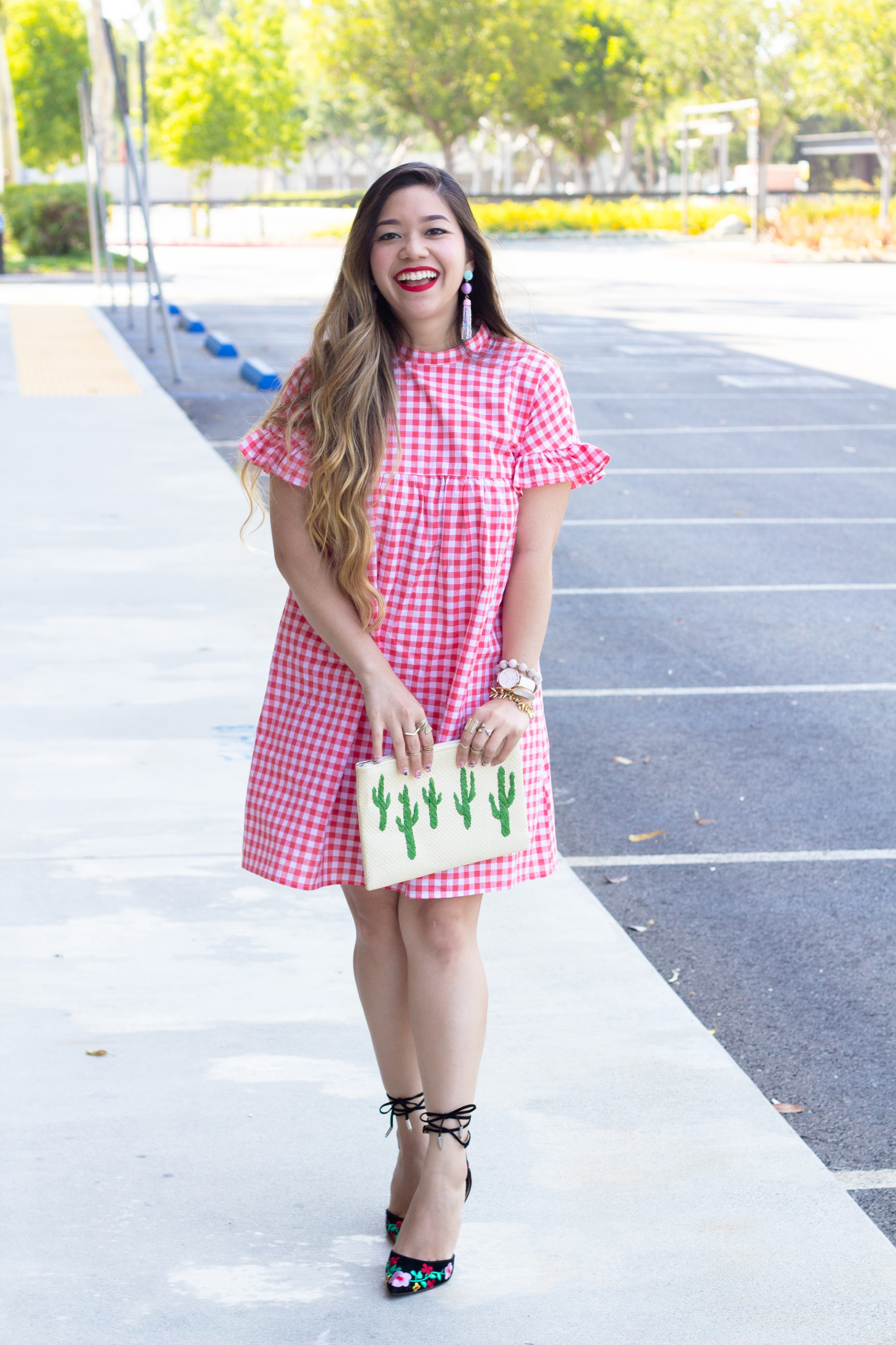 bright-orange-gingham-dress