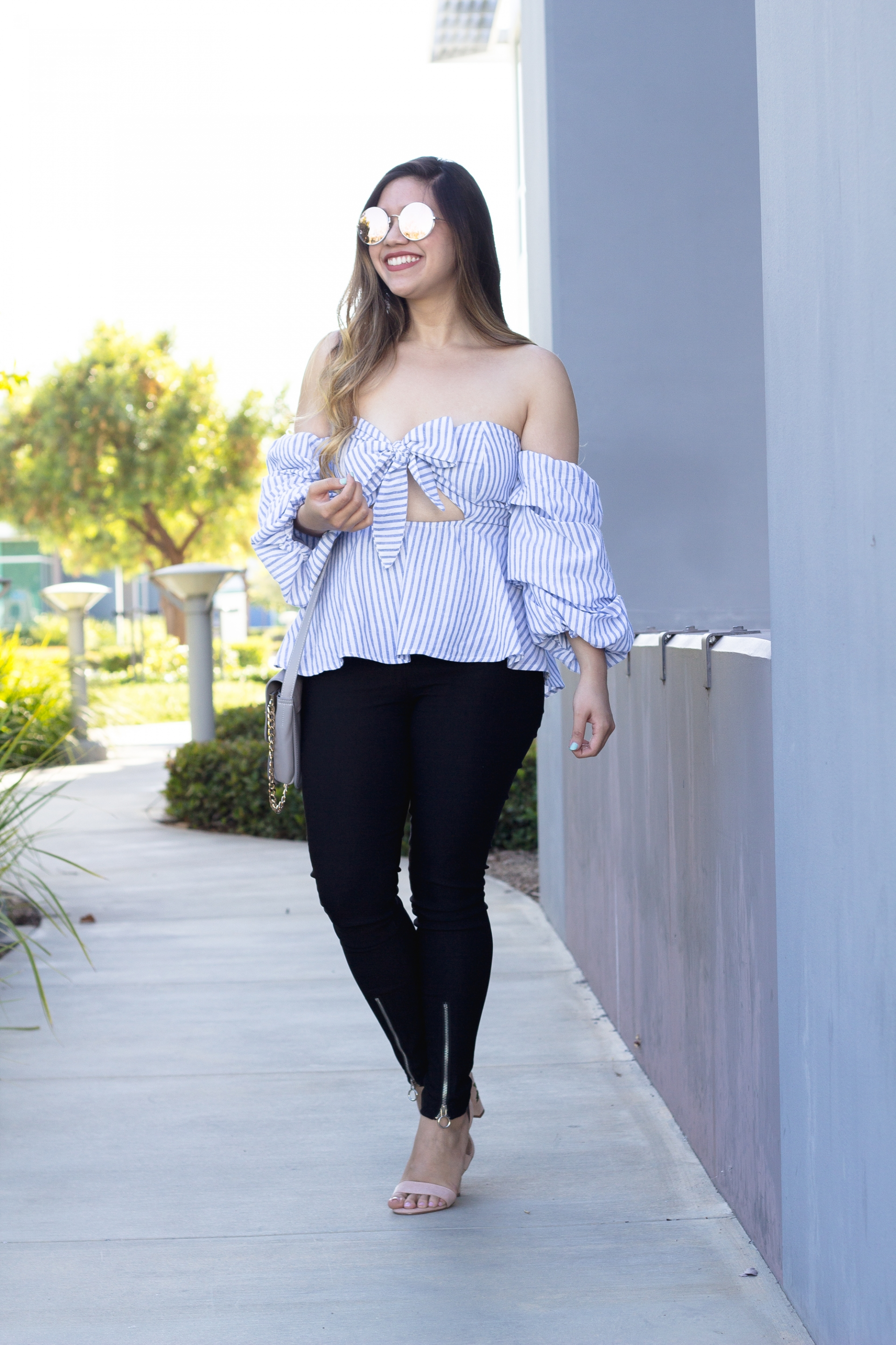 Striped Bow Front Top