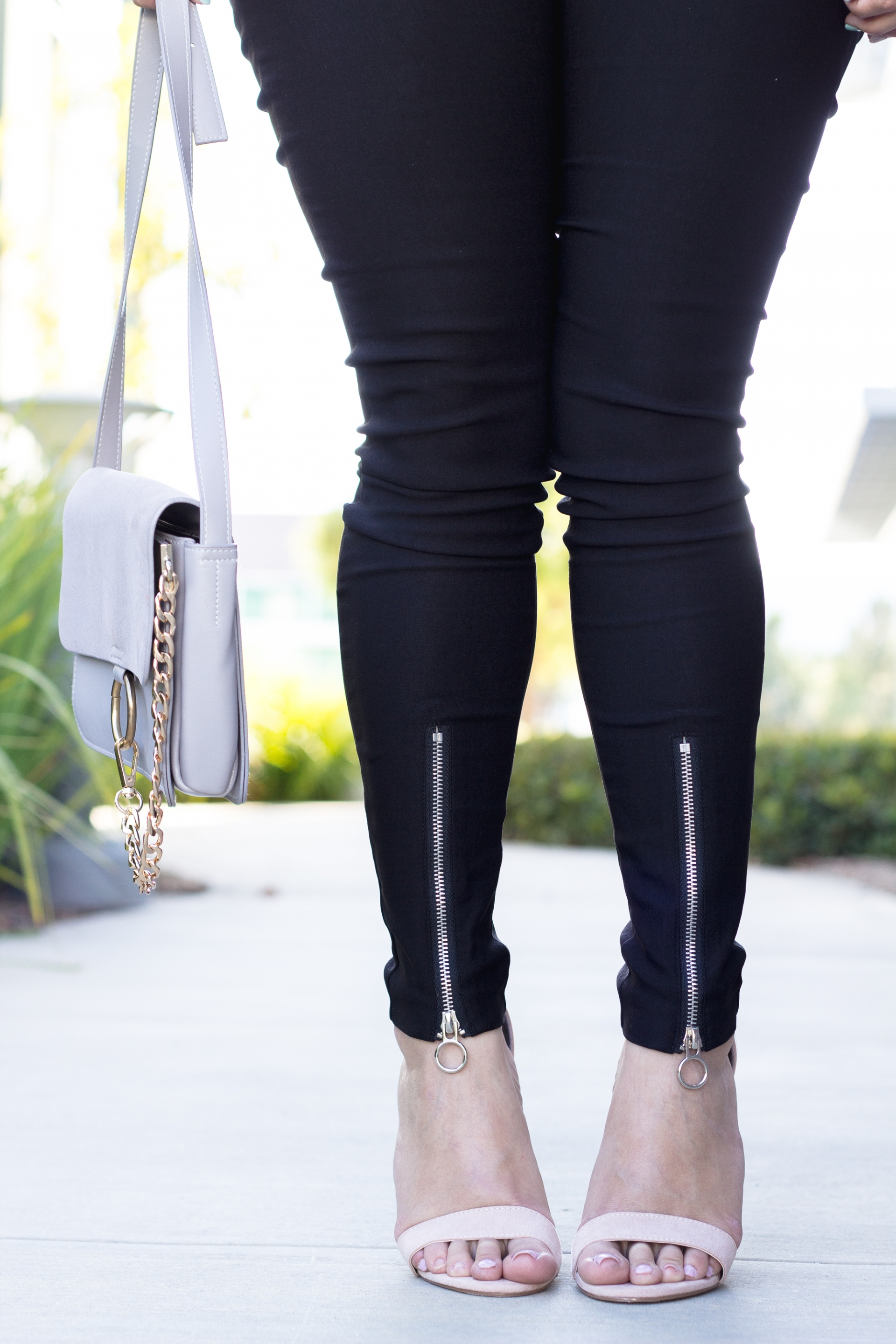 Zippered Ankle Skinny Pants