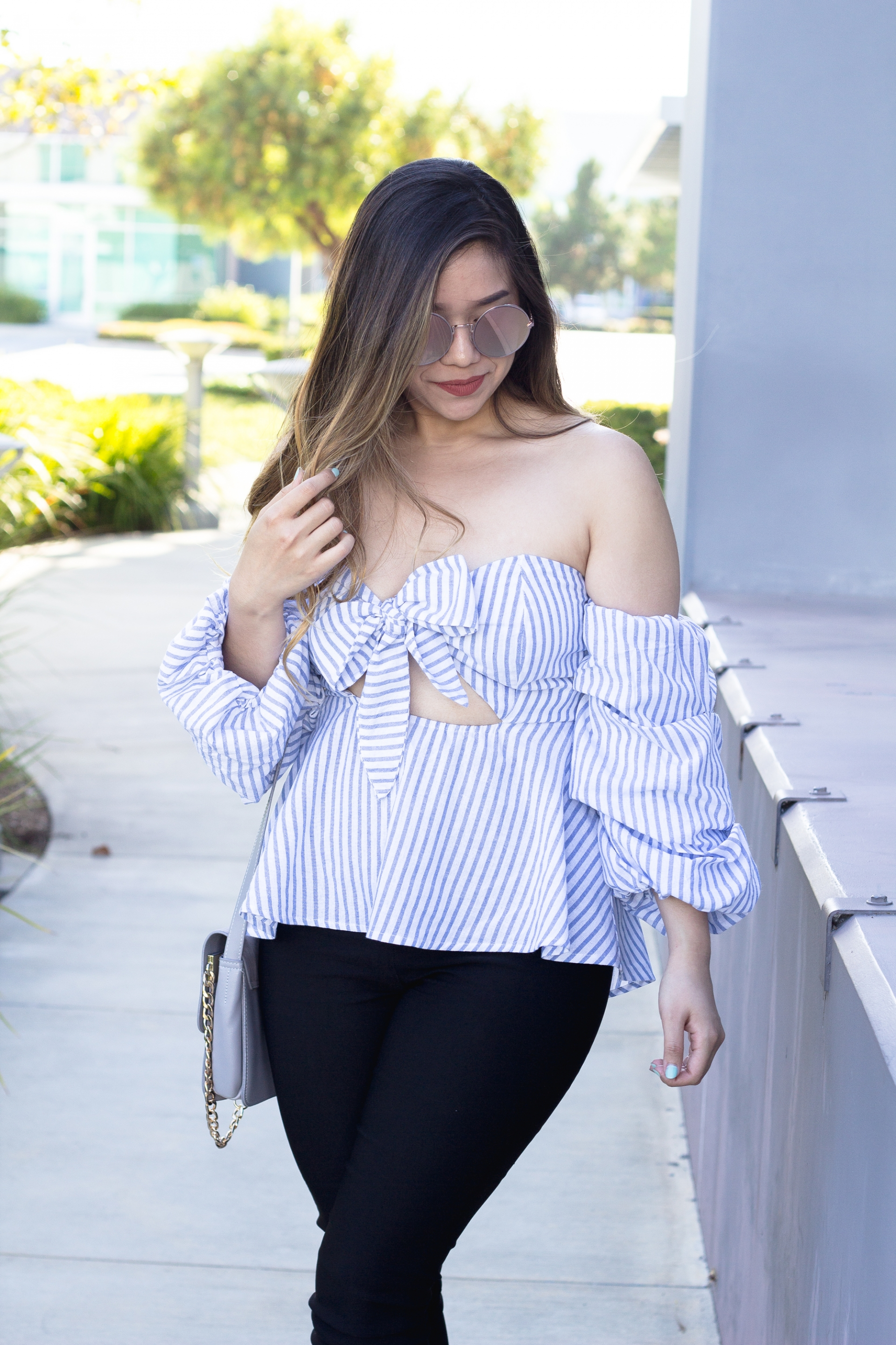 Off The Shoulder Bow Striped Top