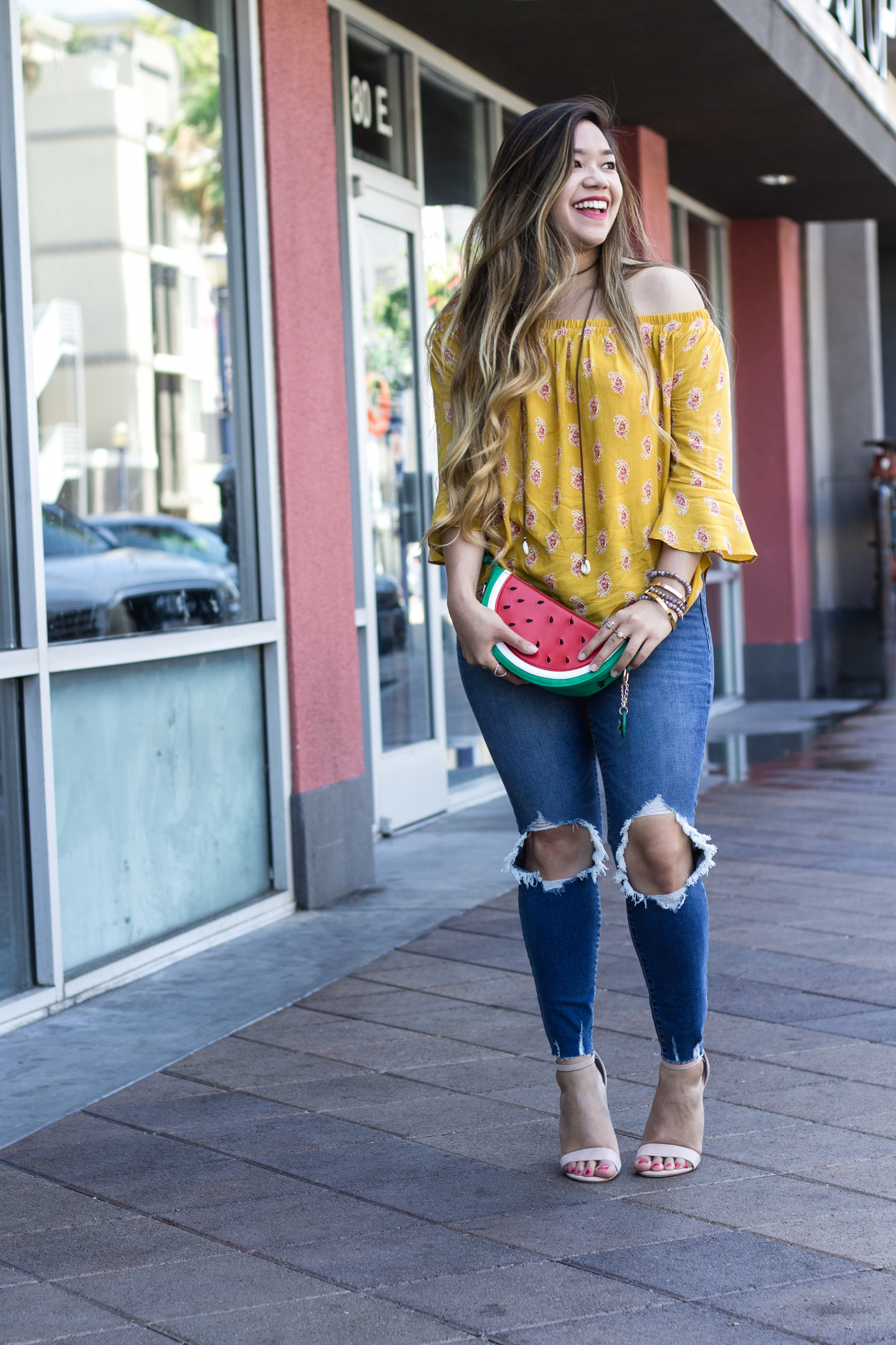 Old-Navy-Yellow-Printed-Off-the-Shoulder-Swing-Top