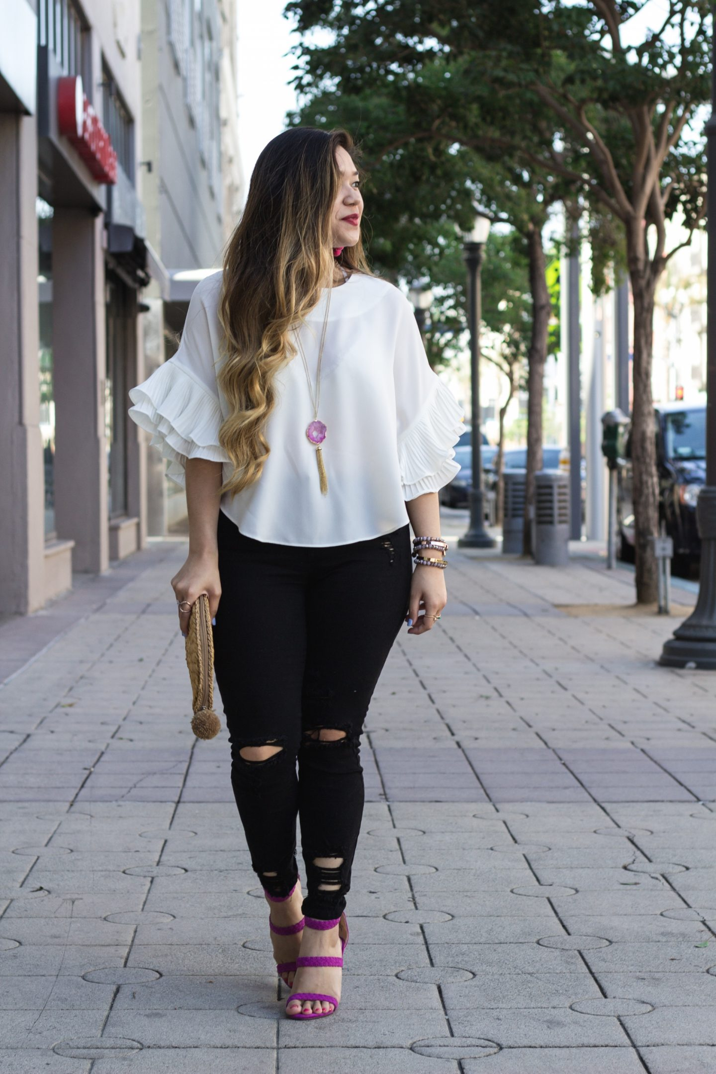 Pleated Ruffle Sleeve Top + Ripped Distressed Jeans