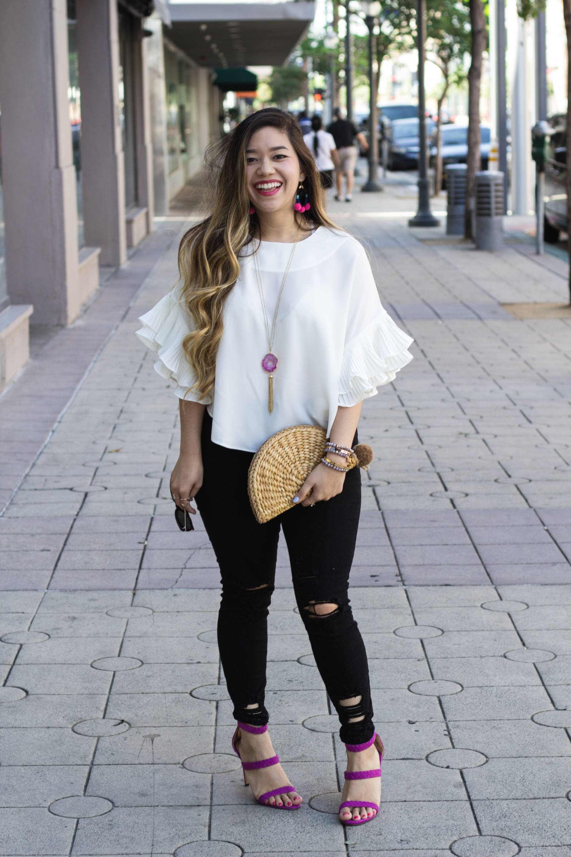 white-pleated-statement-sleeves-top