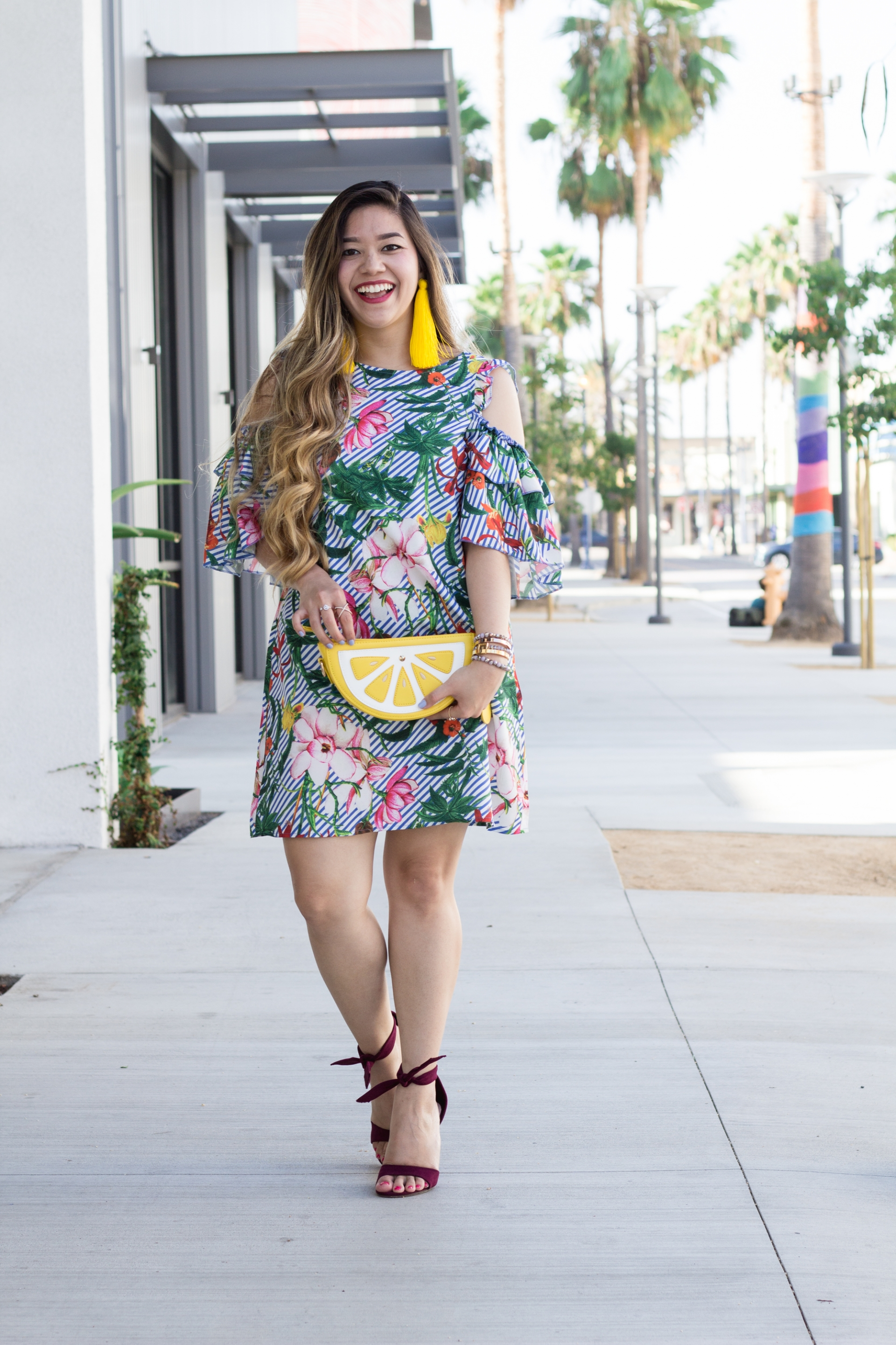 Tropical-Print-Open-Shoulder-Frill-Dress