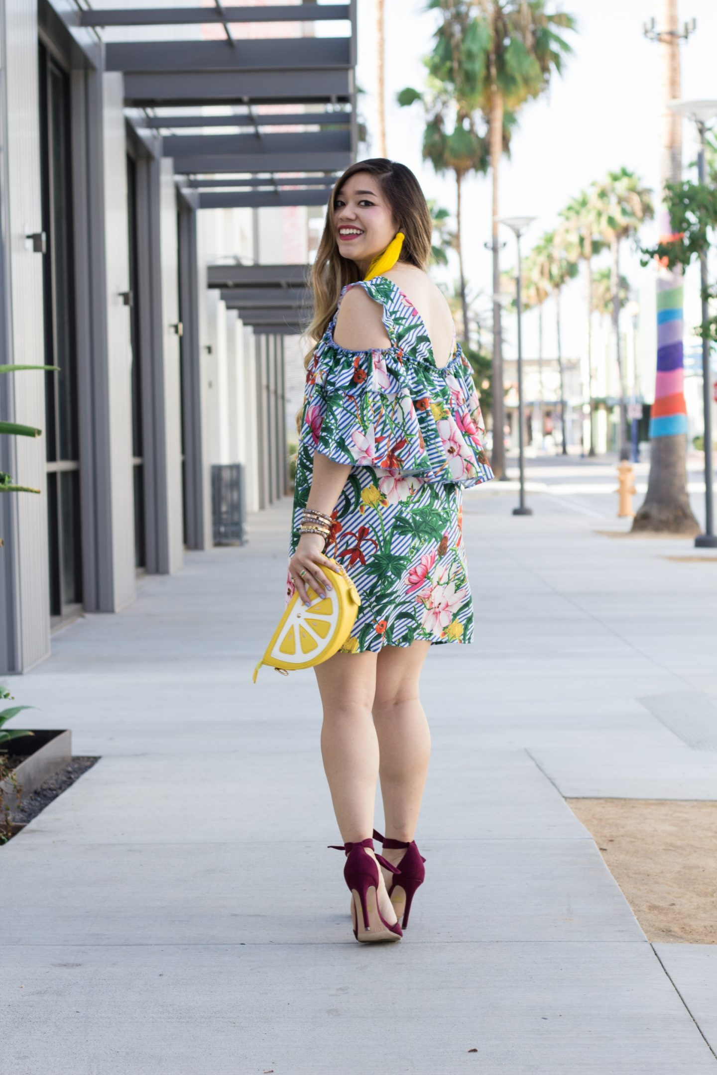 Tropical Print Cold Shoulder Dress + Lemon Clutch