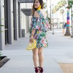 Tropical-Print-Open-Shoulder-Ruffle-Sleeves-Dress