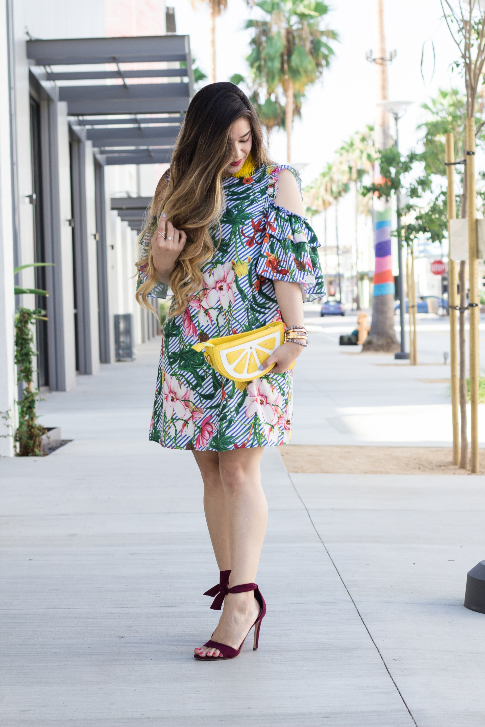 Tropical-Print-Cold-Shoulder-Frill-Dress