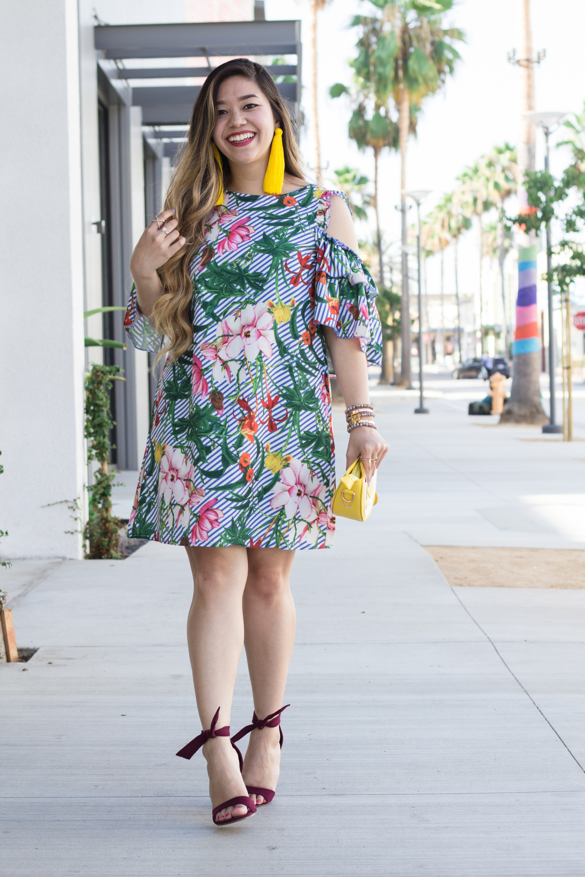 Vibrant-Tropical-Print-Ruffle-Sleeves-Dress