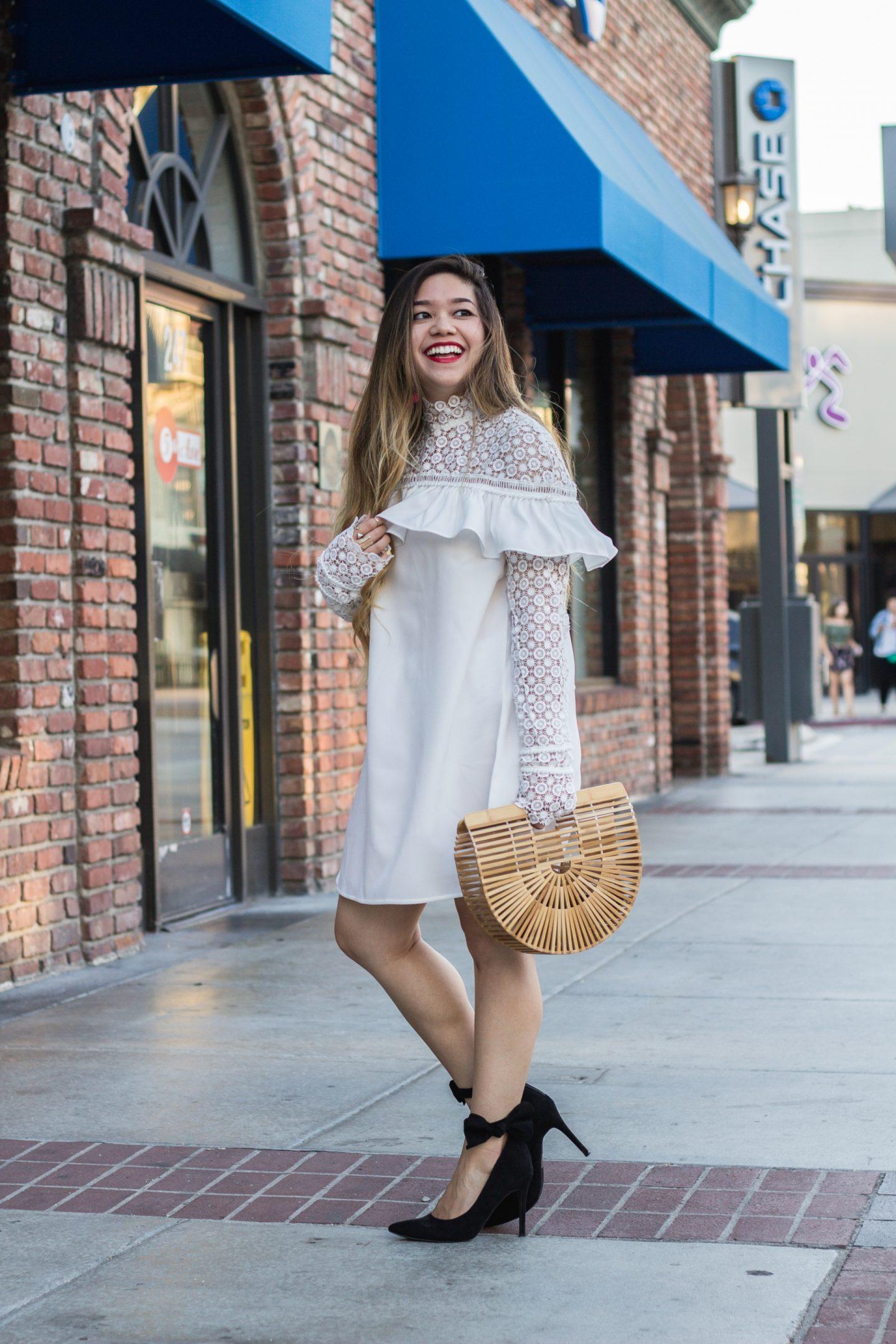 White Lace Ruffle Dress + Cult Gaia Ark Bag
