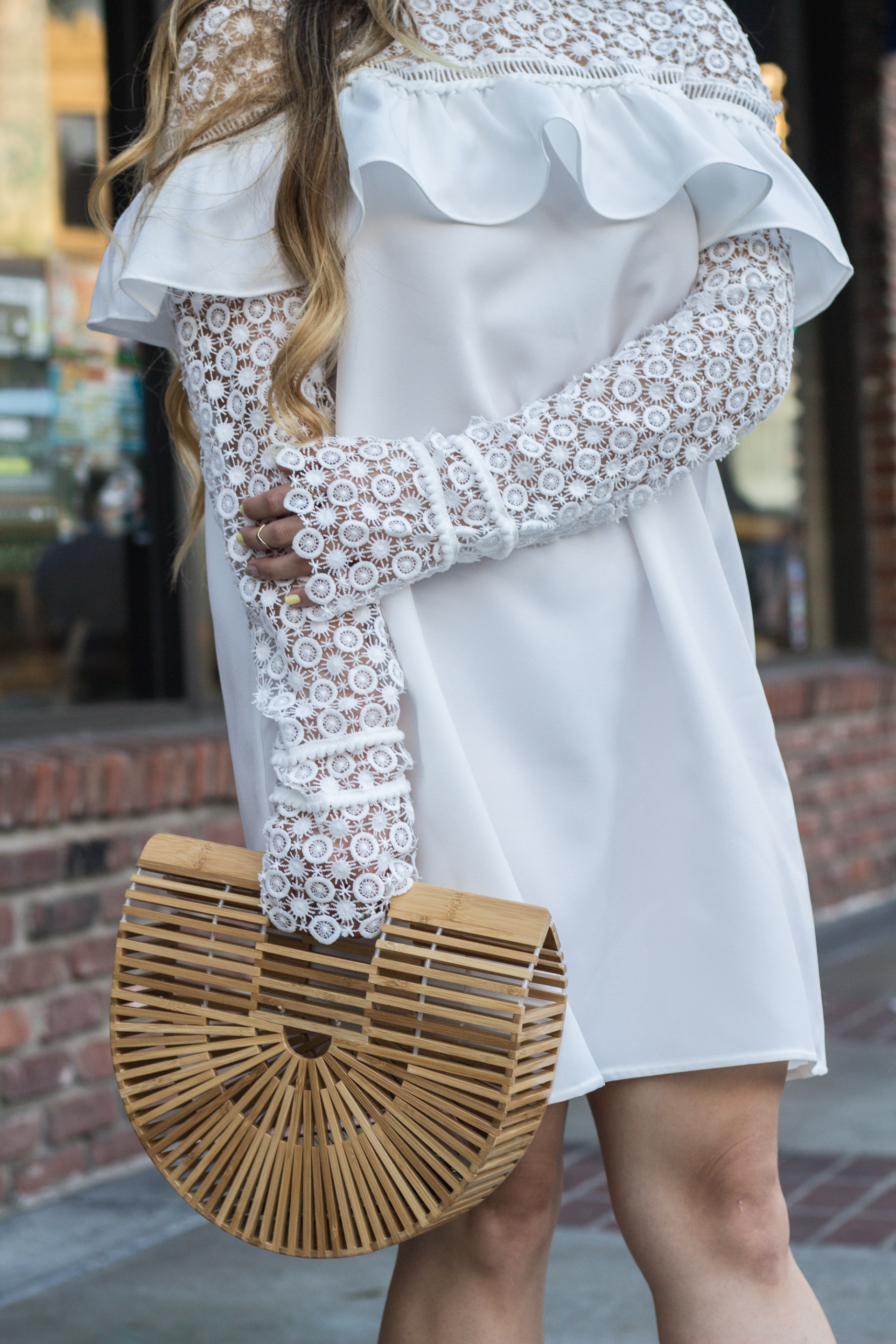 cult-gaia-ark-bamboo-bag-dupe-white-lace-dress