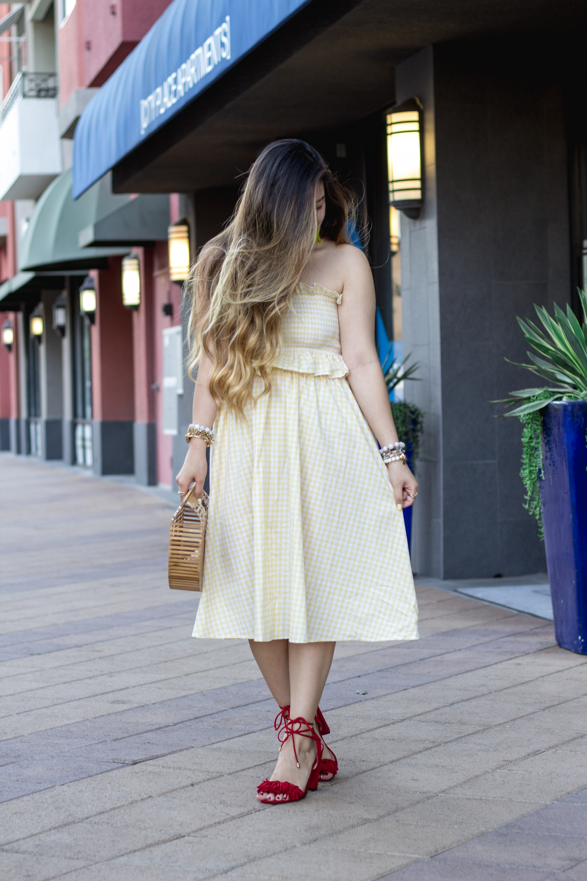 pastel-yellow-gingham-print-ruffle-trim-bandeau-with-midi-skirt