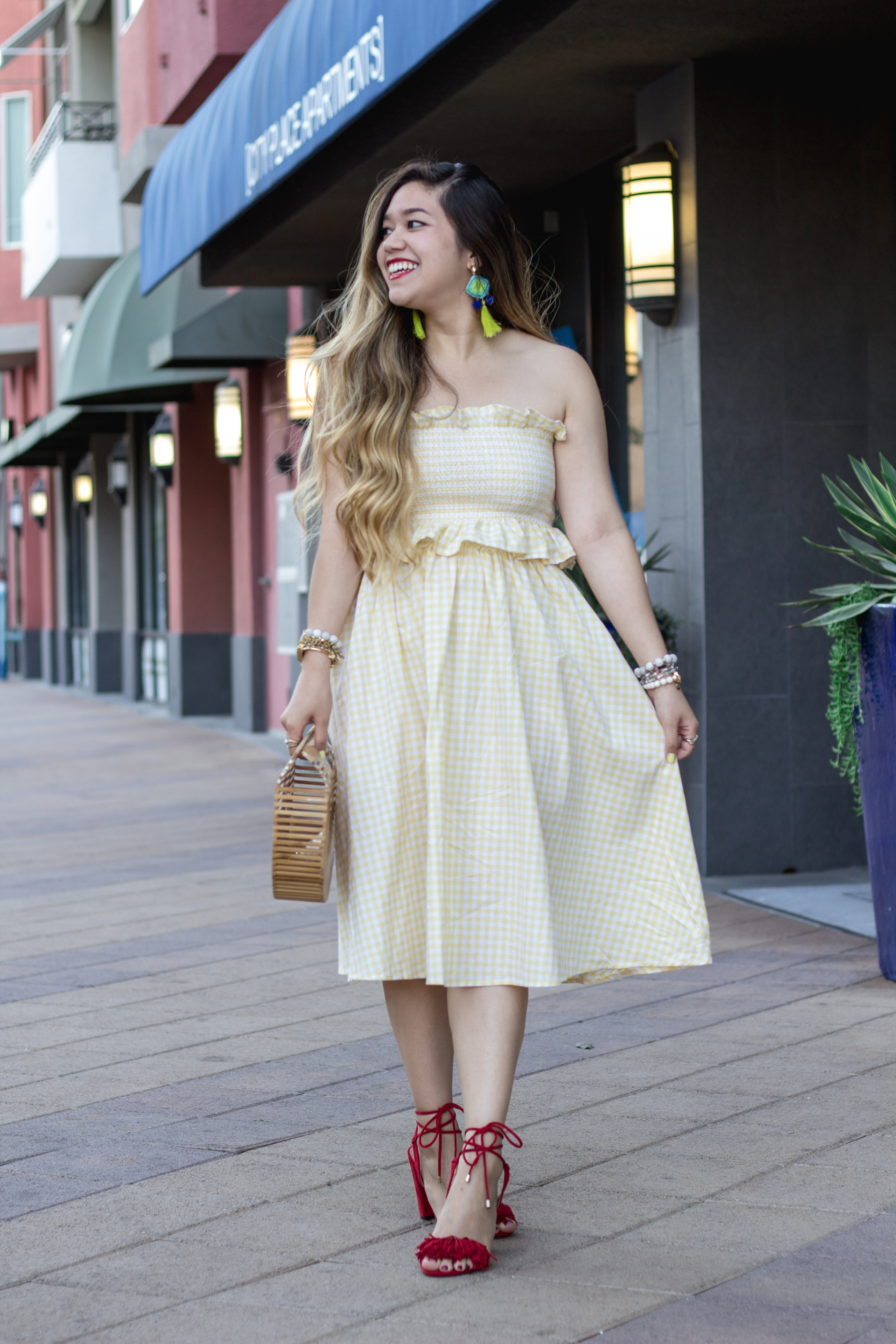 pastel-yellow-gingham-print-smocked-ruffle-trim-crop-top-and-midi-skirt
