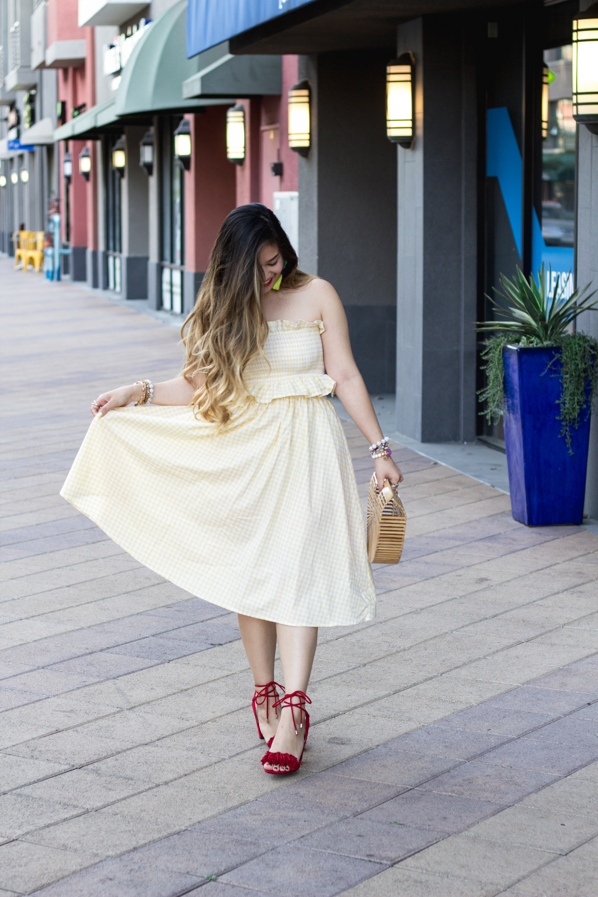 pastel-yellow-gingham-bandeau-with-midi-skirt-outfit