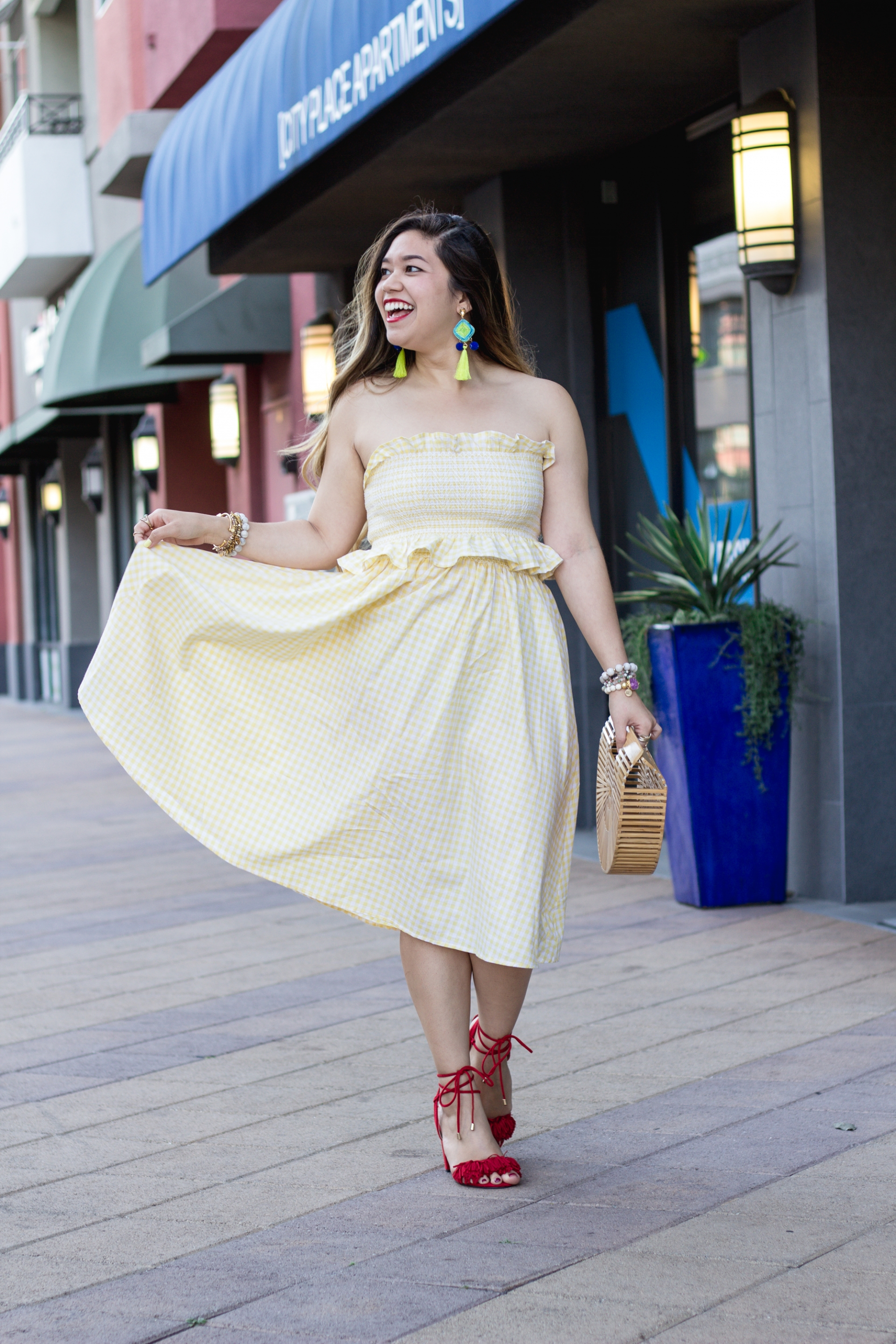 pastel-yellow-gingham-print-bandeau-with-skirt-set
