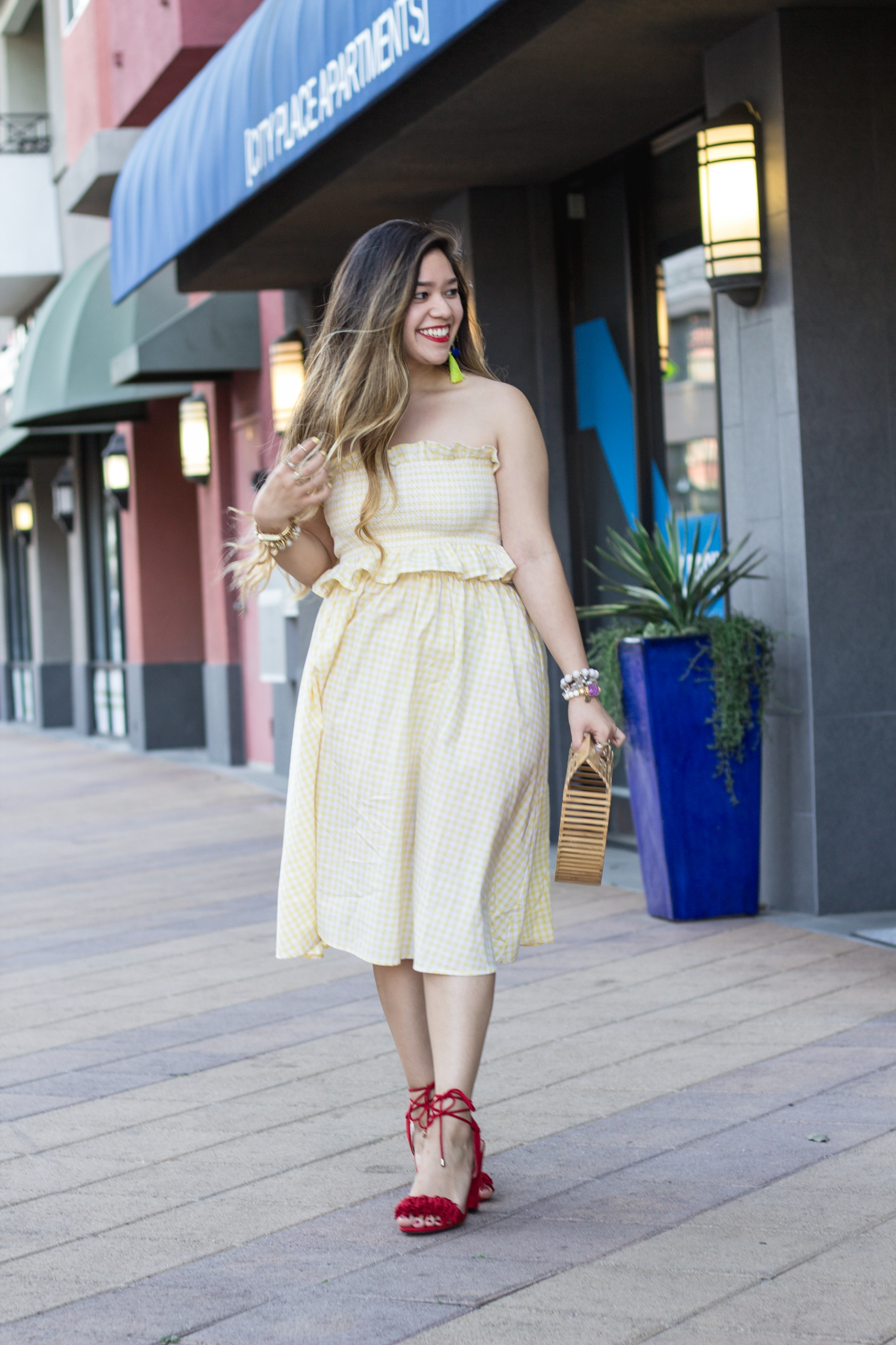 pastel-yellow-gingham-print-ruffle-trim-top-and-skirt