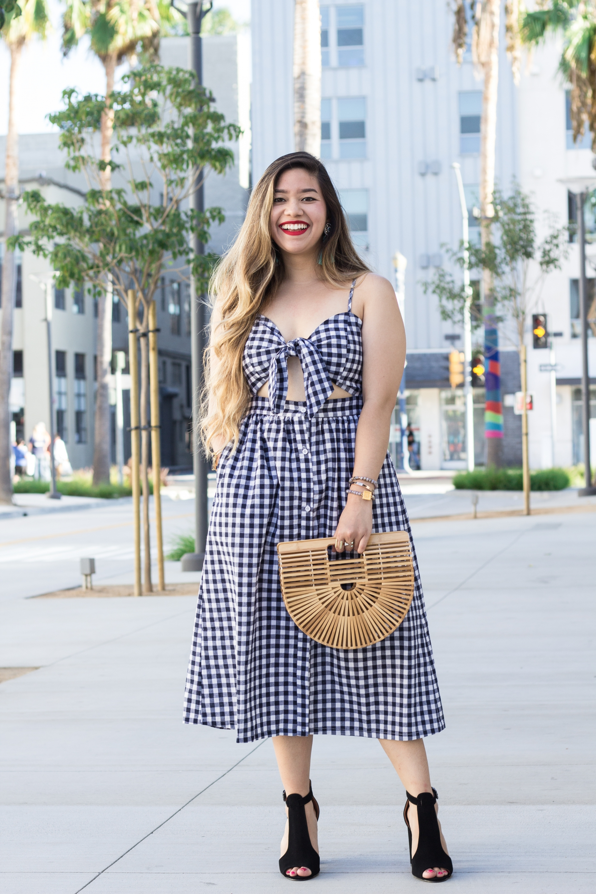 Bow-Knot-Front-Cutout-Midriff-Smocked-Back-Gingham-Dress