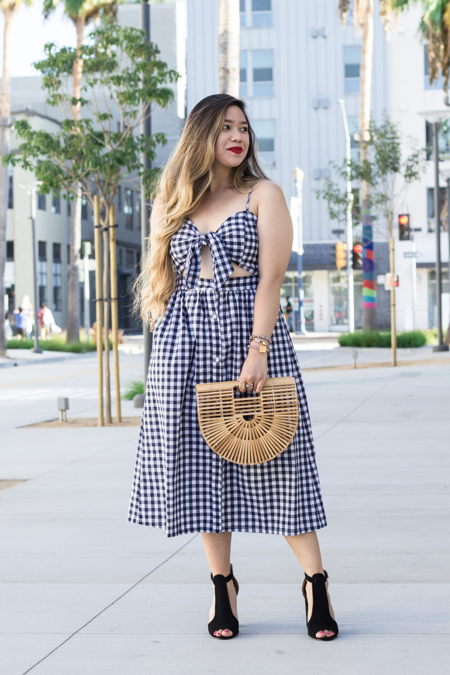 Bow Front Cutout Gingham Dress