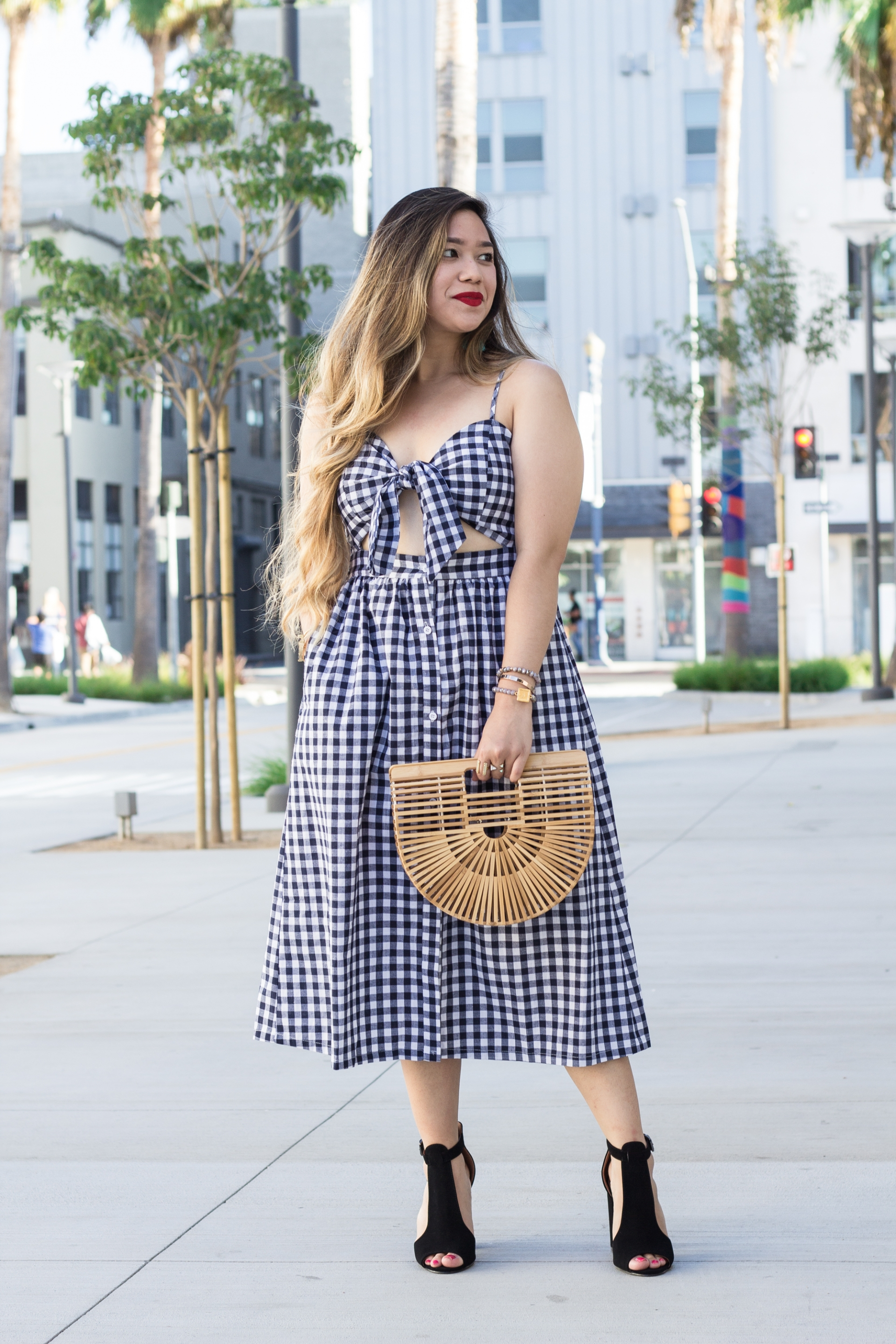 Bow-Front-Cutout-Gingham-Cami-Dress