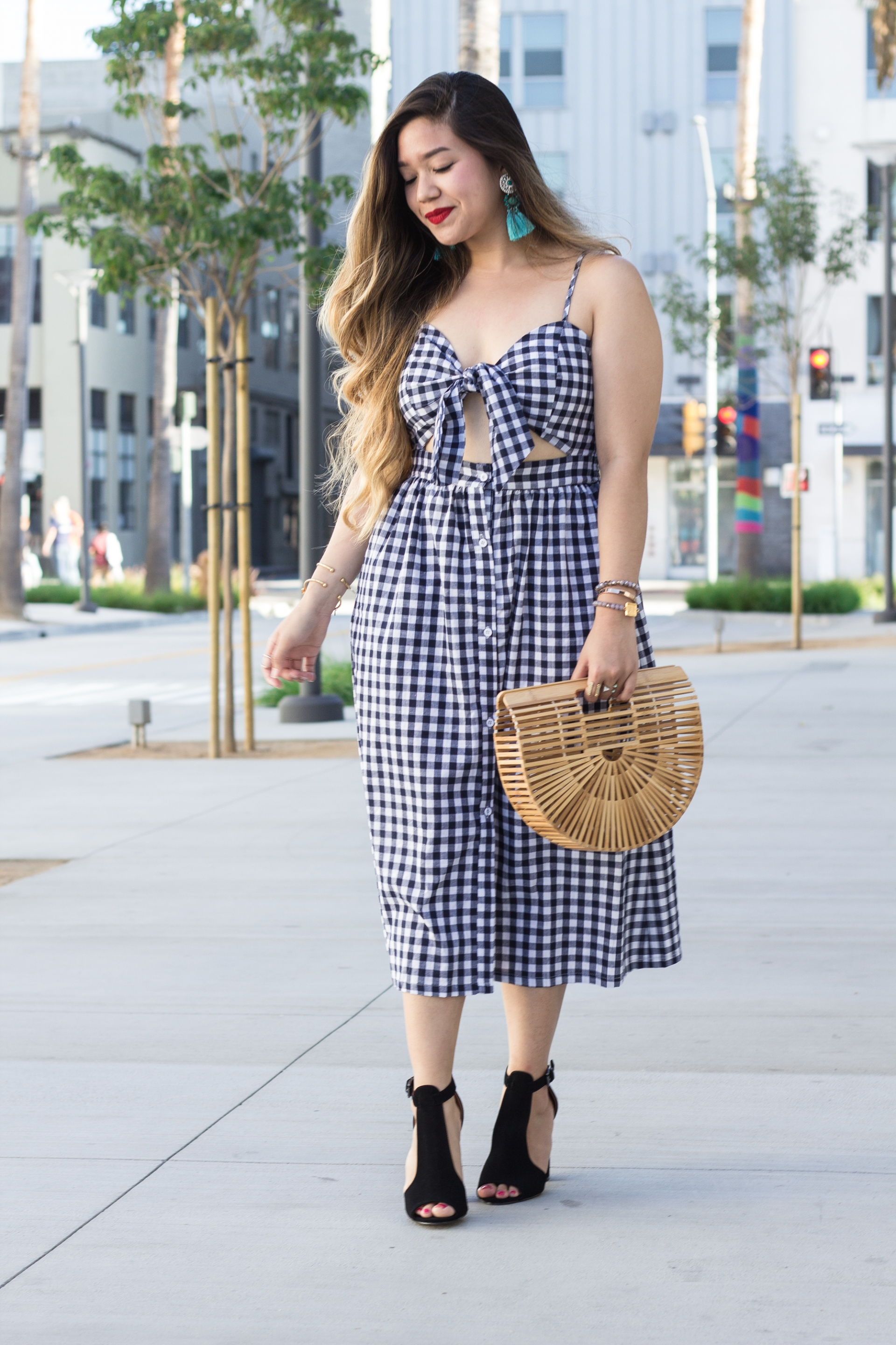 Bow-Knot-Front-Cutout-Cami-Button-Down-Cami-Gingham-Dress