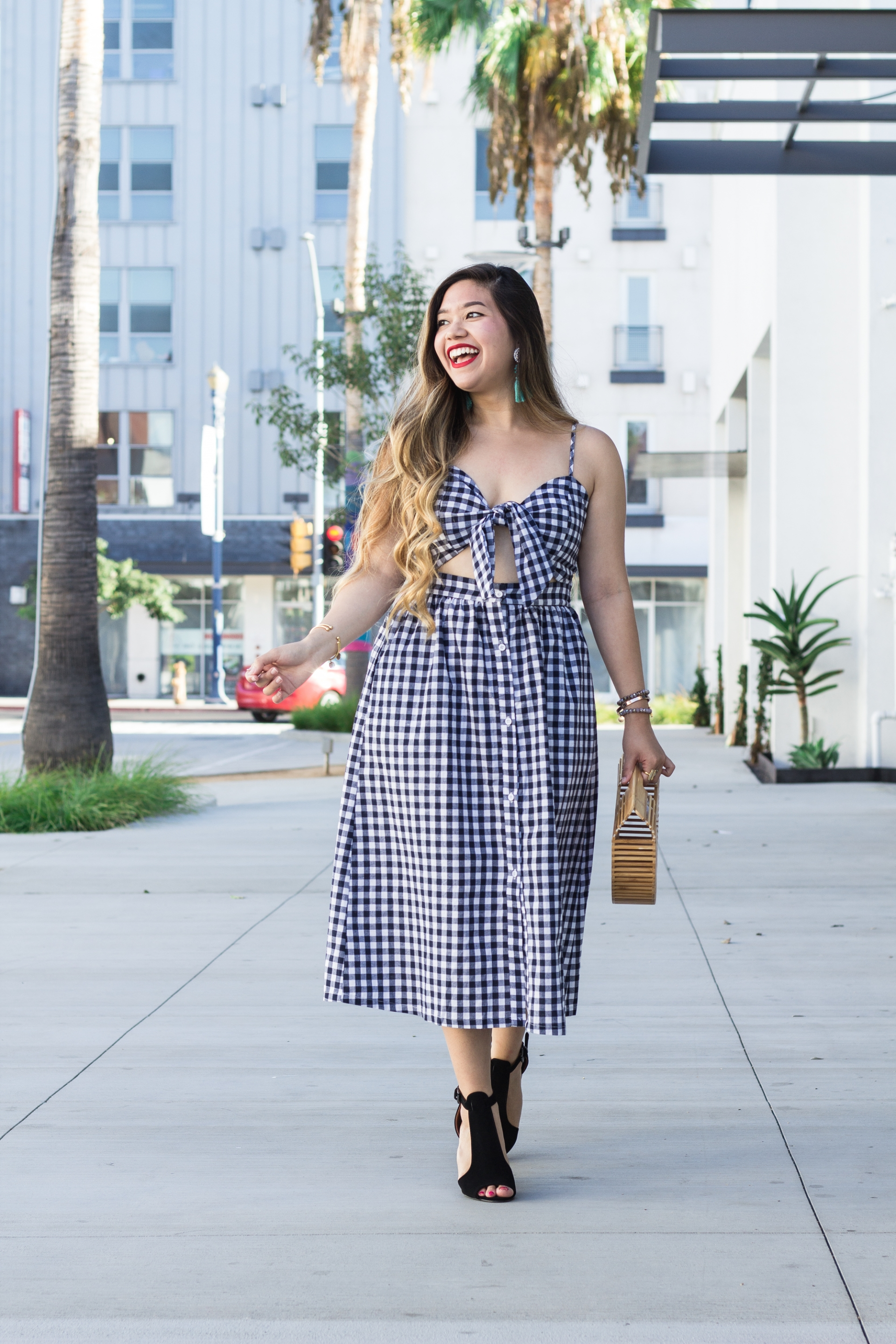 Bow-Tie-Front-Cutout-Midi-Gingham-Dress-With-Pockets
