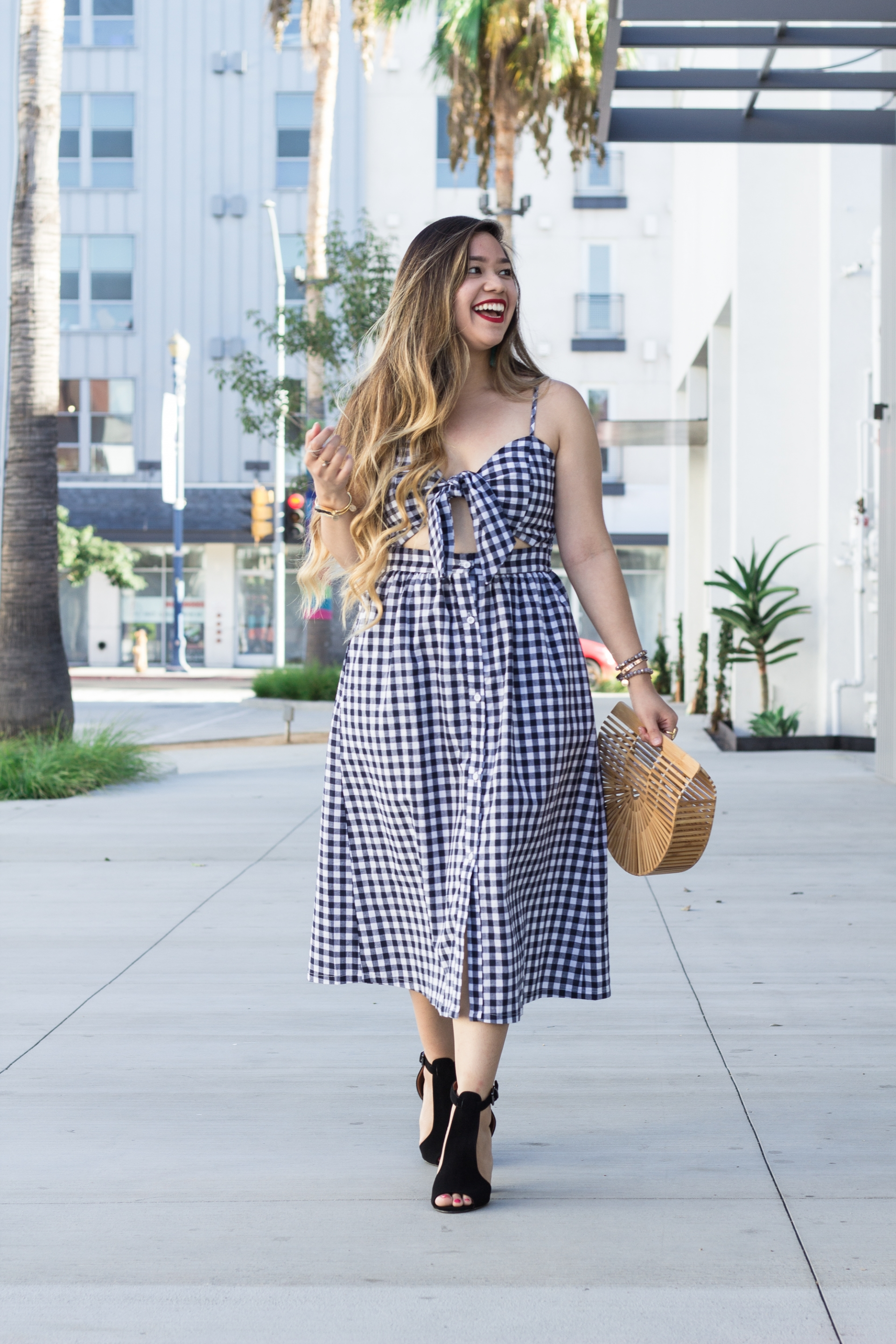 Bow-Tie-Front-Cutout-Midi-Button-Down-Cami-Gingham-Dress