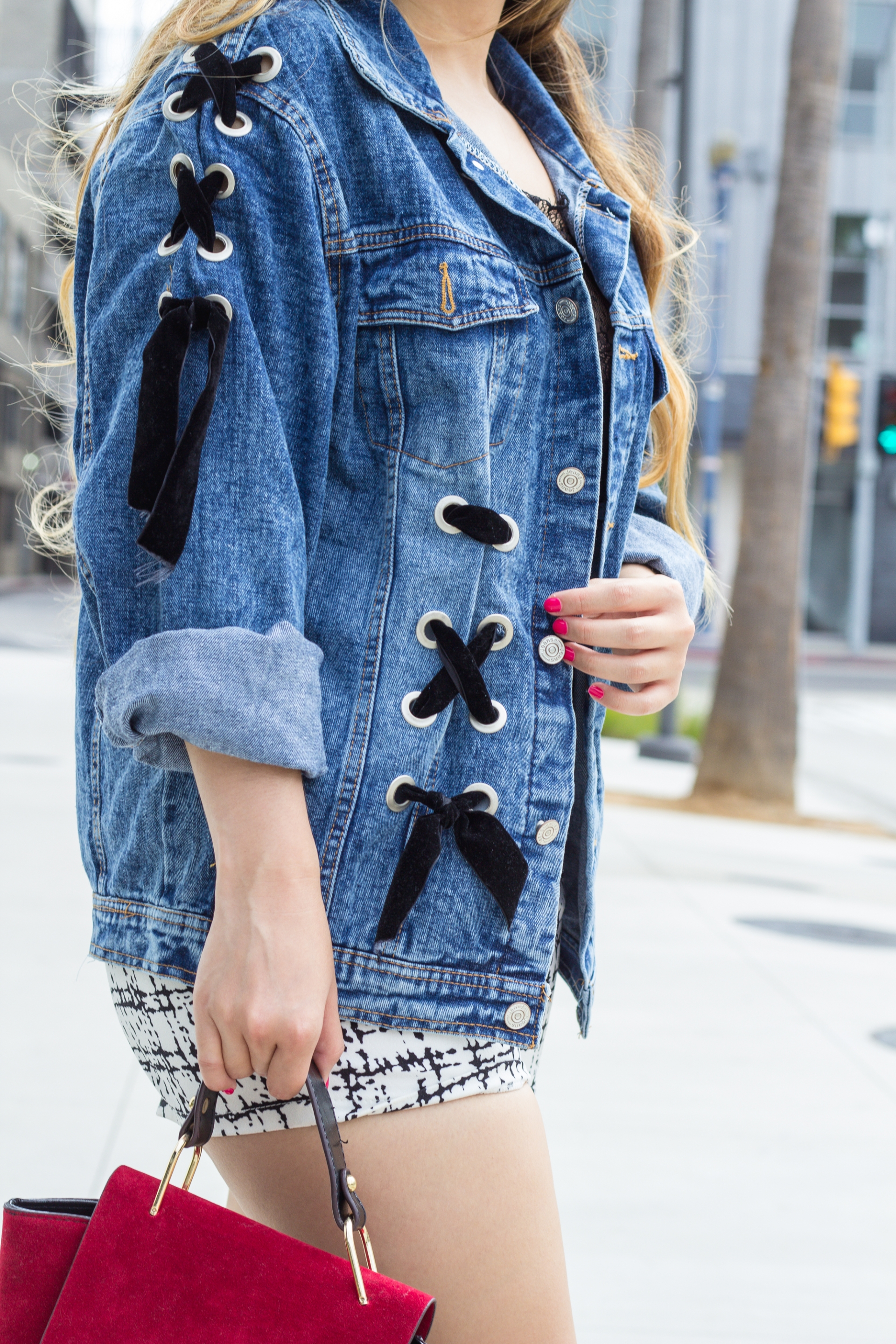 Distressed-Oversized-Denim-Jacket-Lace-Up-Velvet-Ribbon