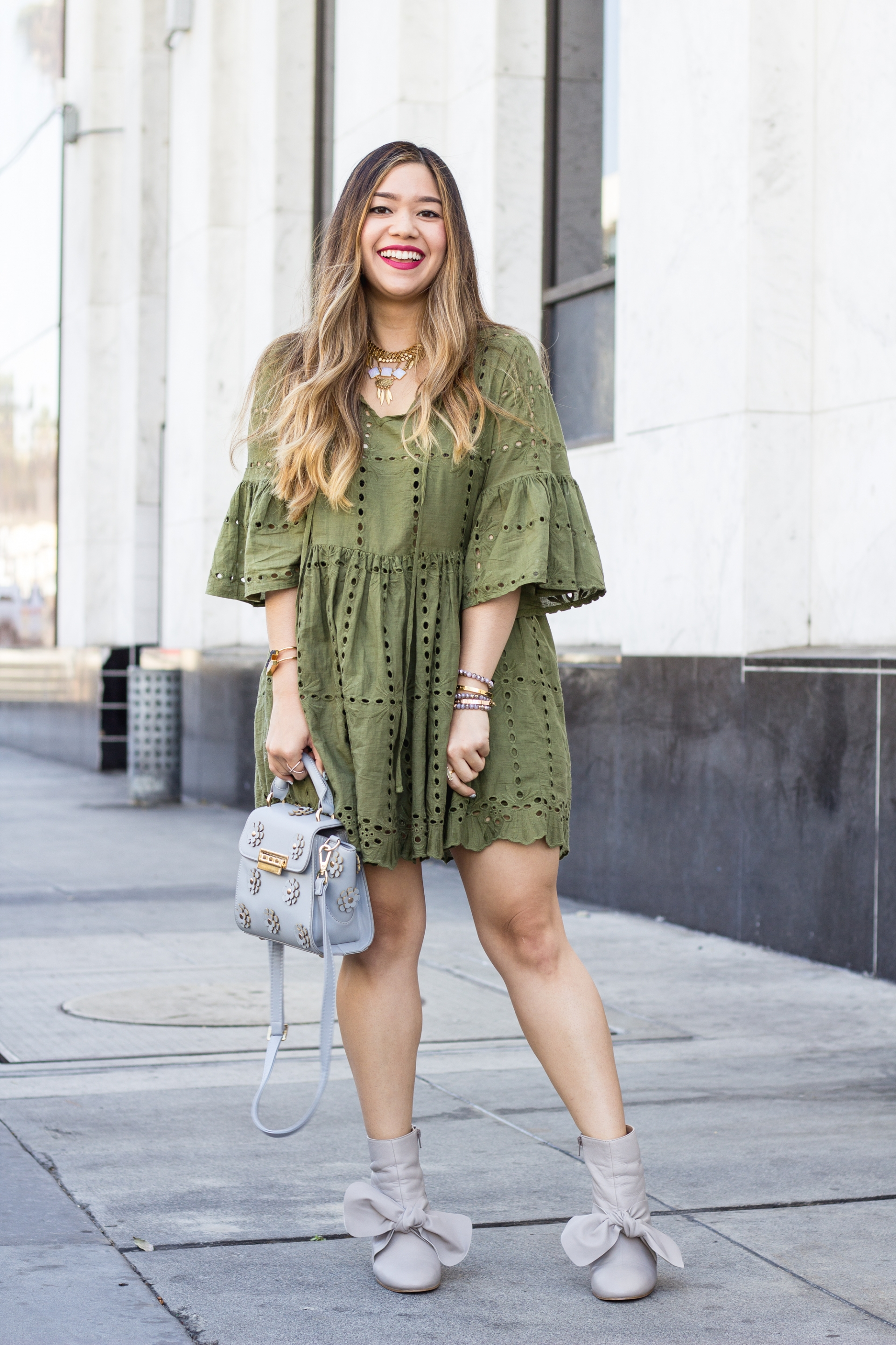 Olive-Green-Eyelet-Babydoll-Dress-Embroidered-Swing-Dress-Statement-Bow-Leather-Booties