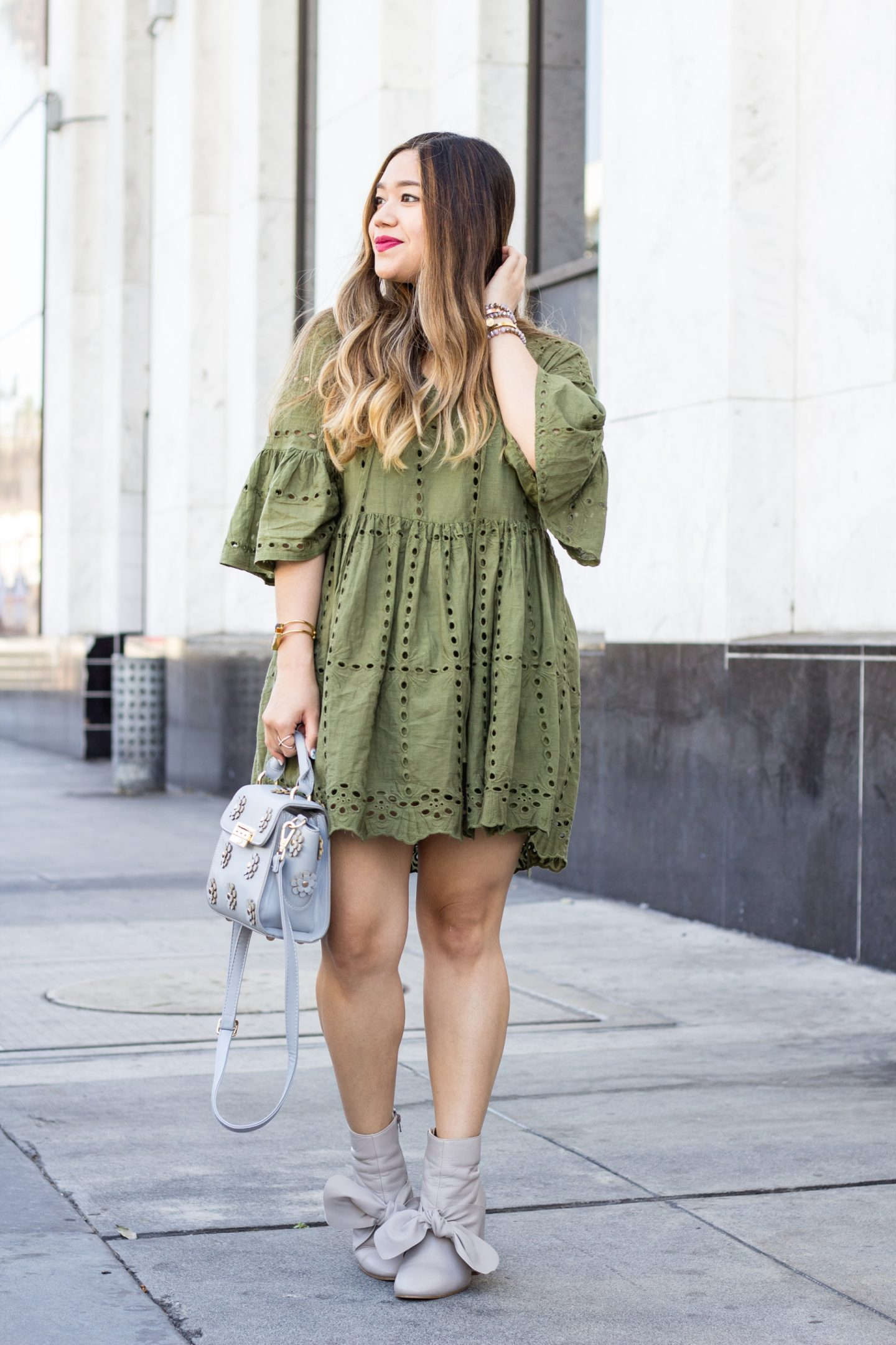 Eyelet Babydoll Dress + Bow Booties