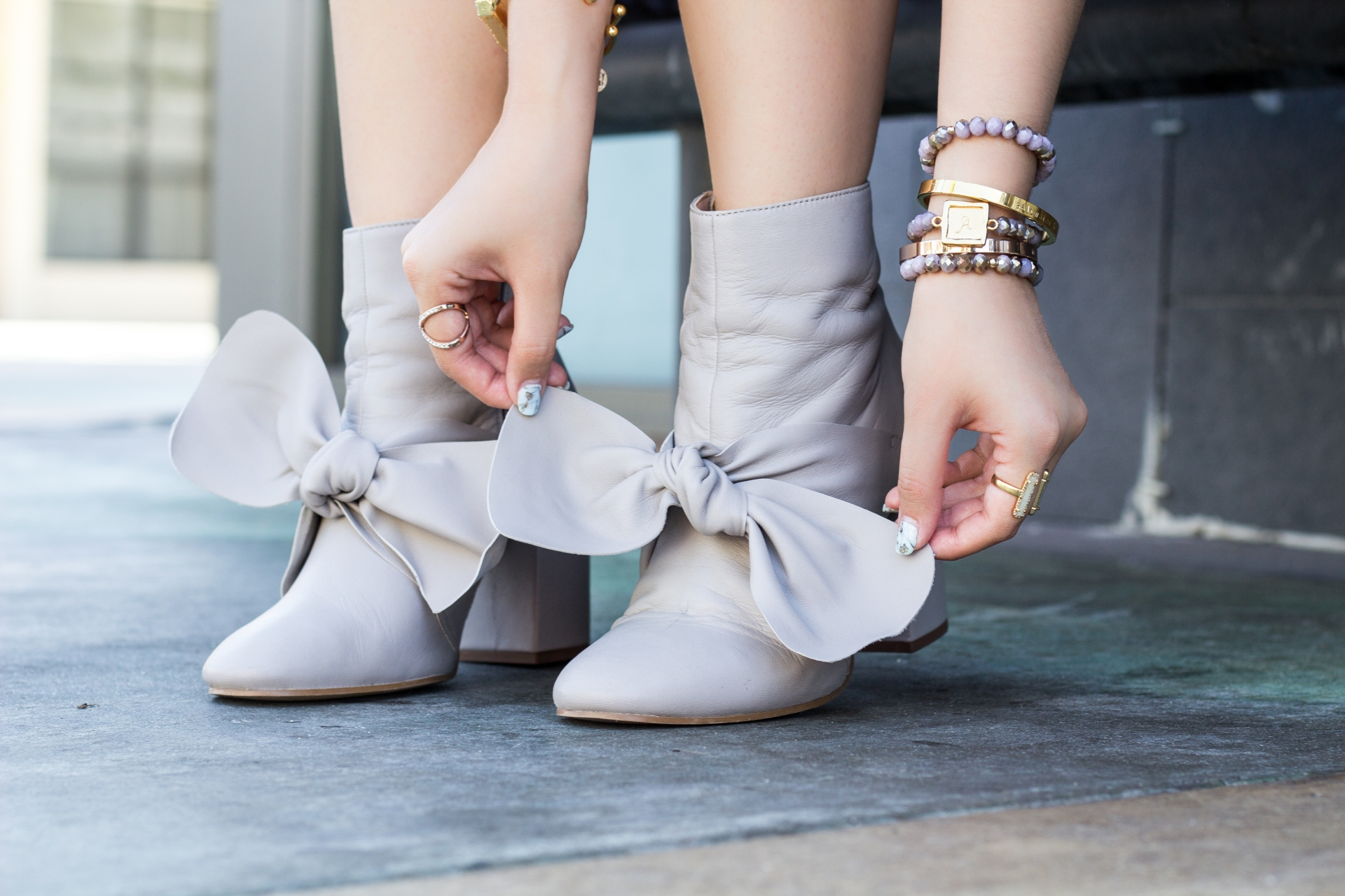 ASOS-Statement-Bow-Leather-Booties-Grey-Gray