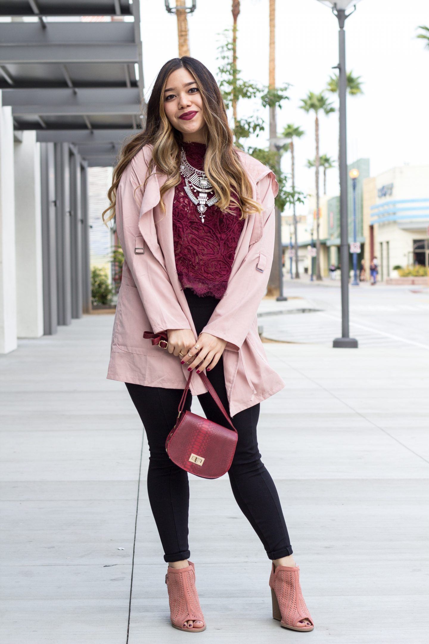 Lightweight Pink Jacket + Burgundy Lace Top