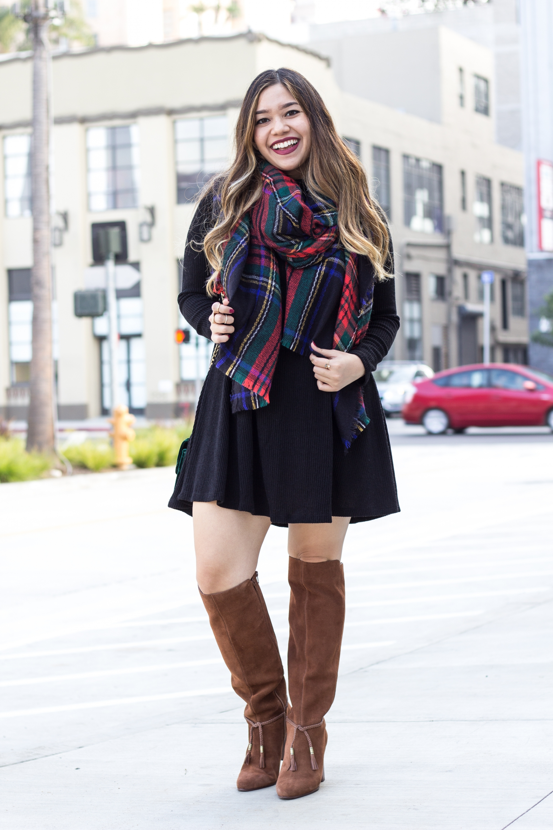 Old-Navy-Mock-Neck-Sweater-Swing-Dress-Flannel-Blanket-Scarf-Aerosoles-Dk-Tan-Suede-Square-Foot-Tall-Shafted-Boots