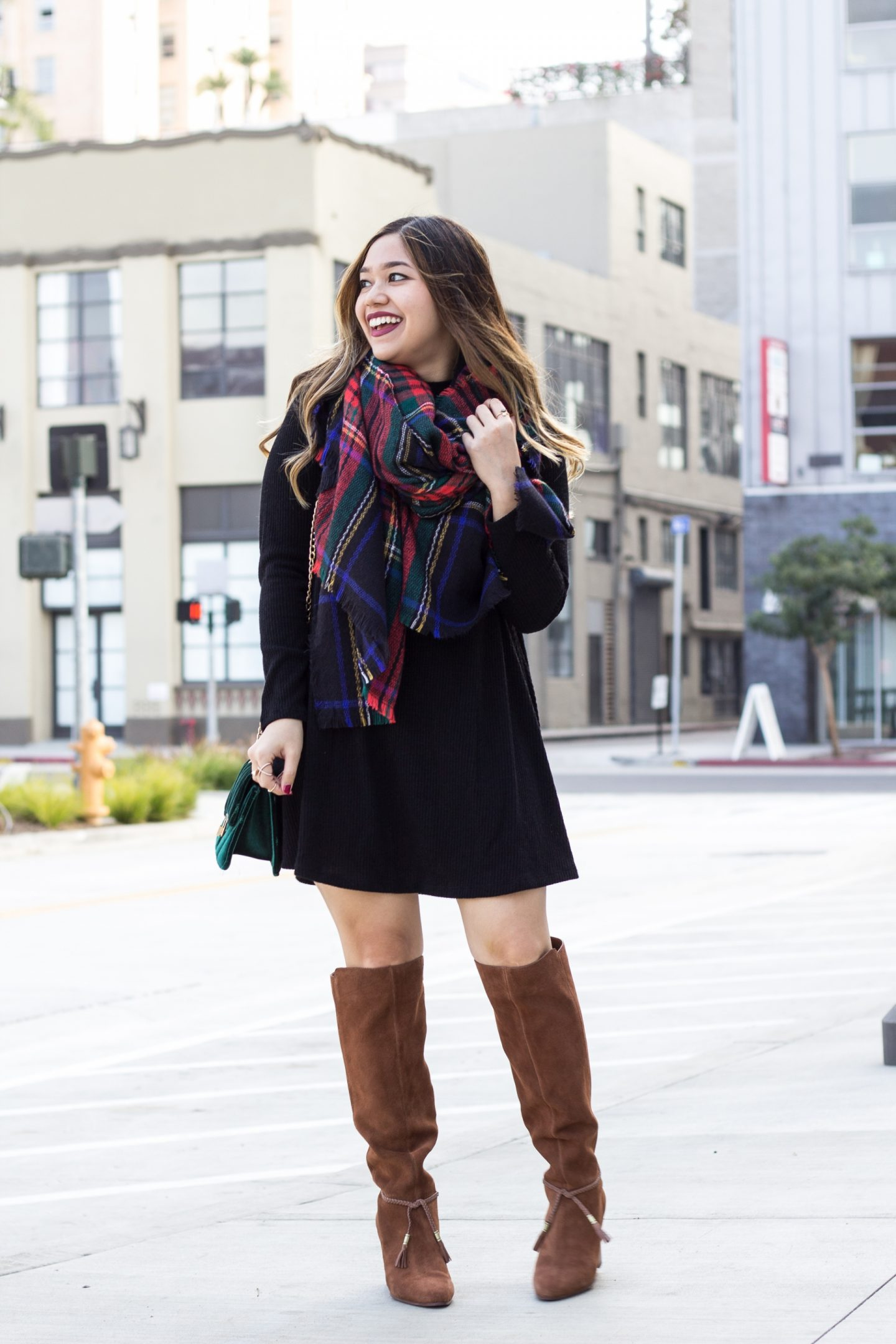 Sweater Swing Dress + Flannel Blanket Scarf